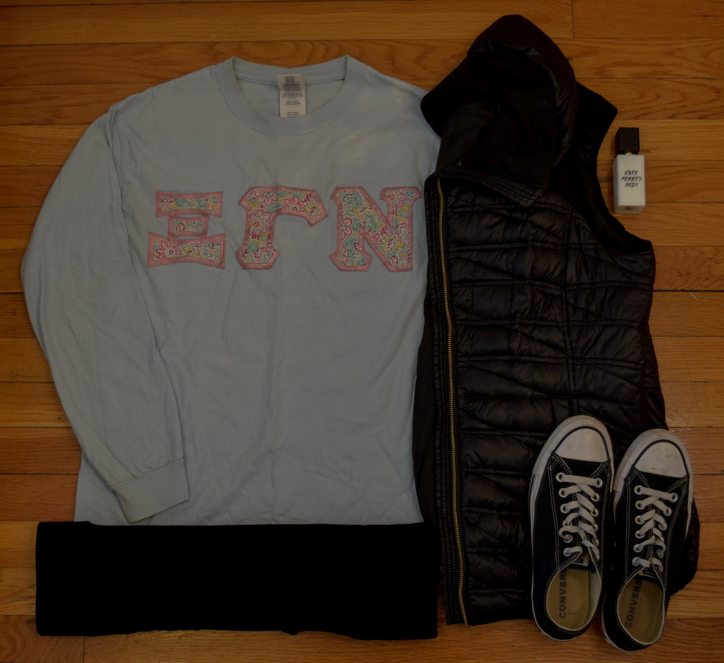 shirt ( Gamma  exclusive, sorry bbs!). vest (from  Marshall's , by  Michael Kors ).  leggings .  sneakers .  perfume .