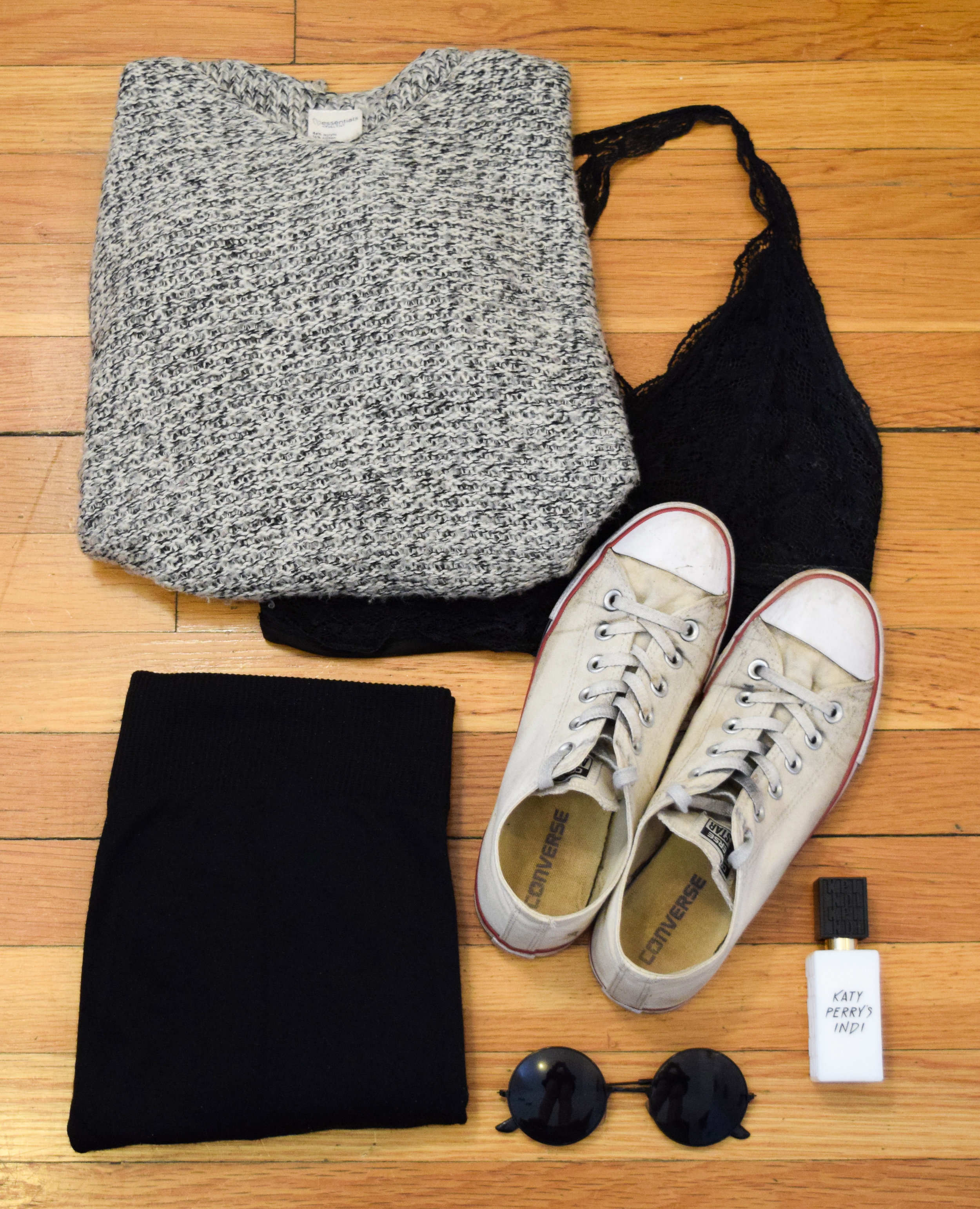 sweater (no longer being sold at  tilly's ).  leggings .  bralette .  sneakers .  perfume .  sunglasses  (use my code CLUNKSTER25 to get 25% off your order!)