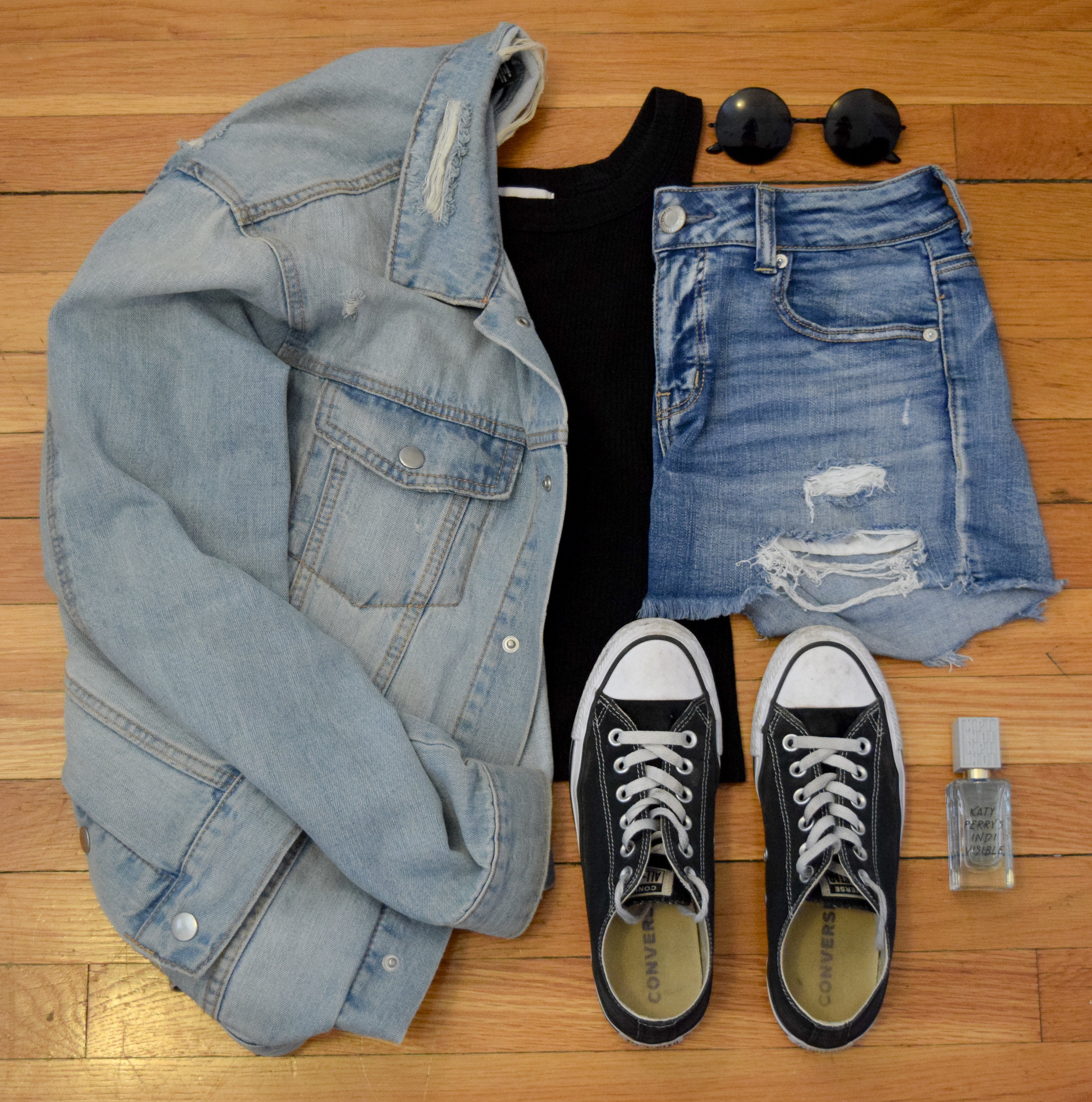 jacket .  tank  (similar).  shorts .  sneakers .  sunglasses  (get 25% off your order with my code CLUNKSTER25!).  perfume .