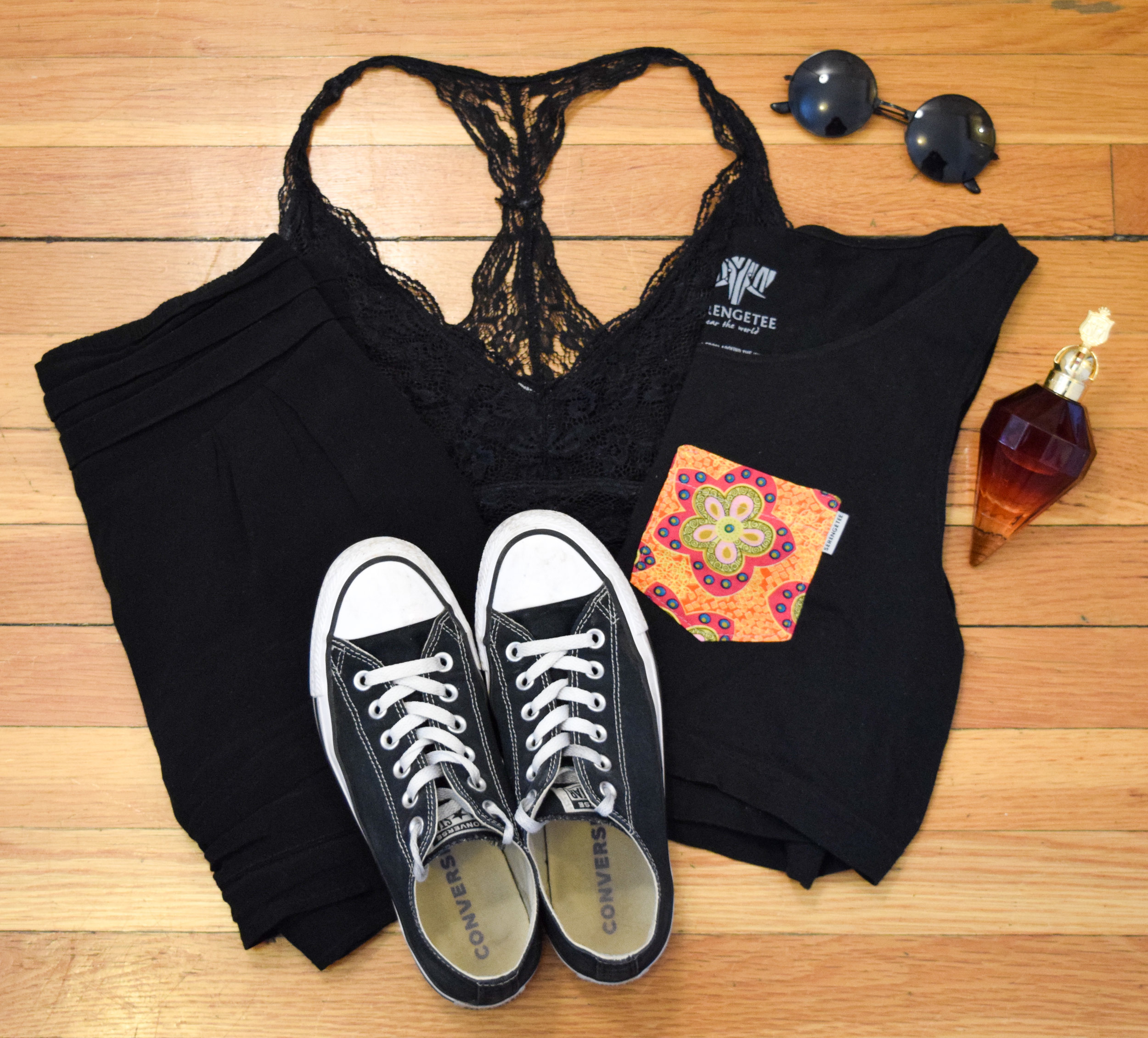 top  (similar).  shorts  (similar).  bralette .  sneakers .  sunglasses  (use my code CLUNKSTER25 for 25% off!).  perfume .