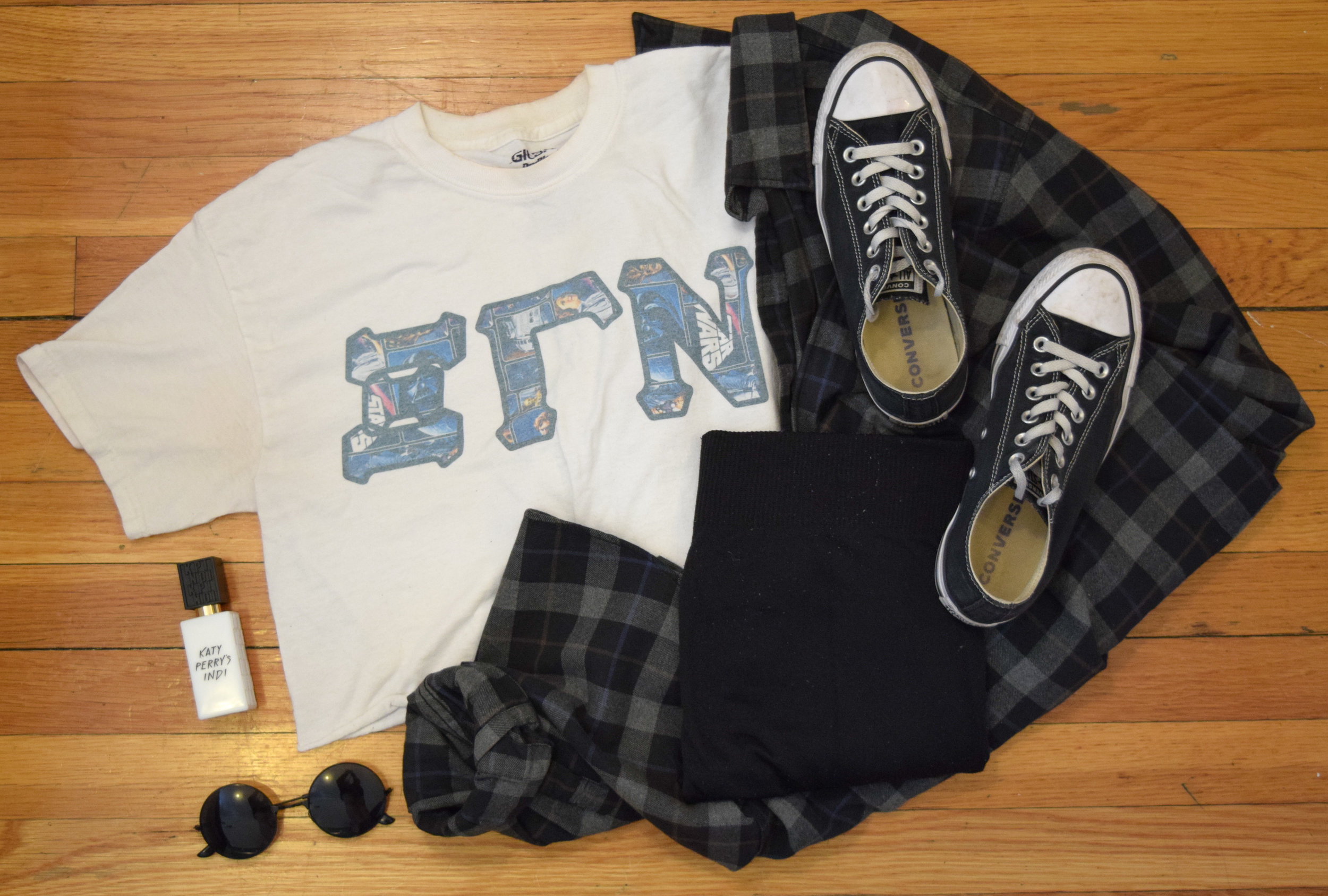 shirt (from  Something Greek ).  flannel  (similar).  leggings .  perfume .  sunglasses  (use my code CLUNKSTER25 for 25% off!)