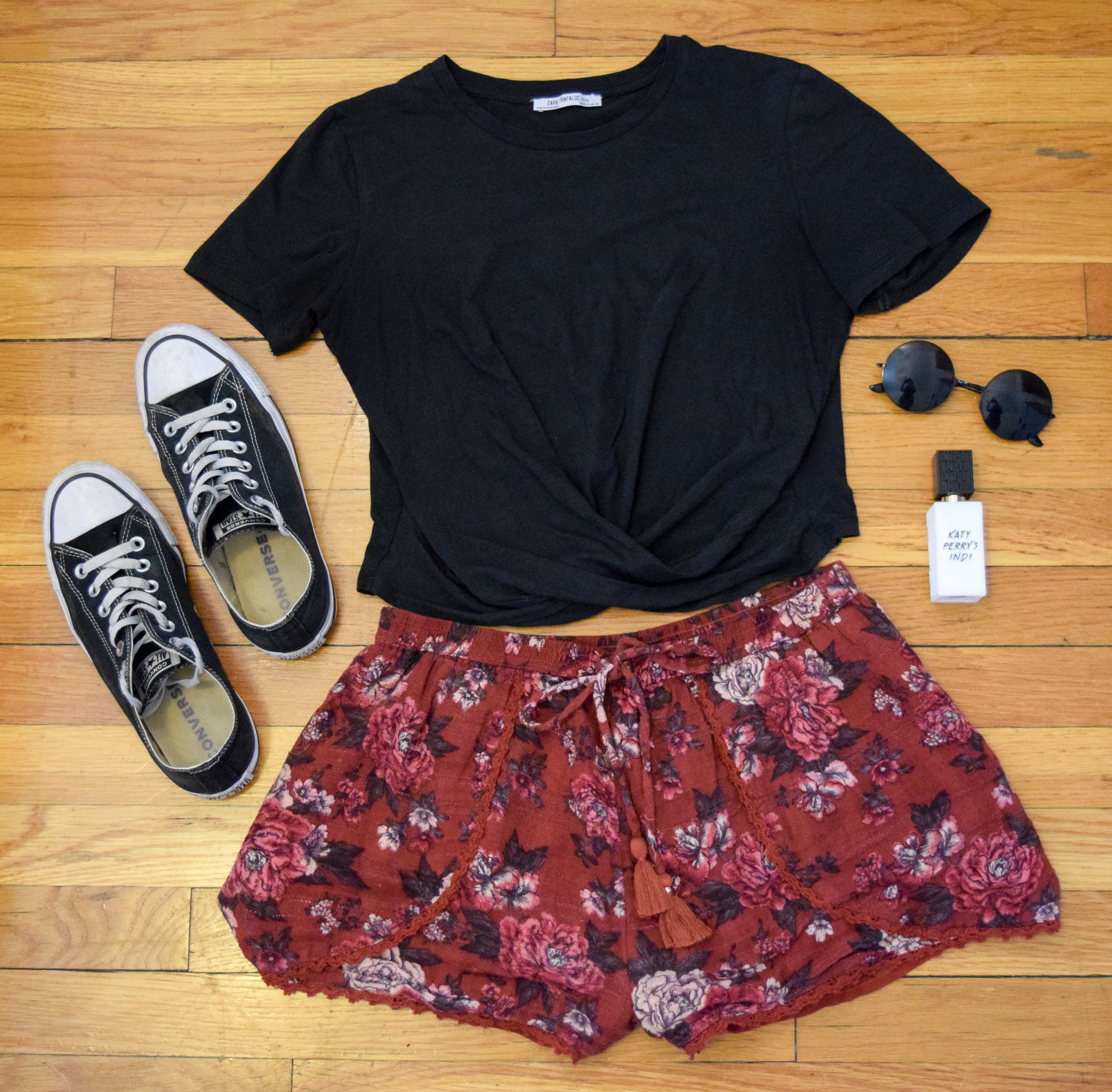 top (no longer being sold by  Zara ).  shorts  (similar).  sneakers .  perfume .  sunglasses  (CLUNKSTER25 ;) )