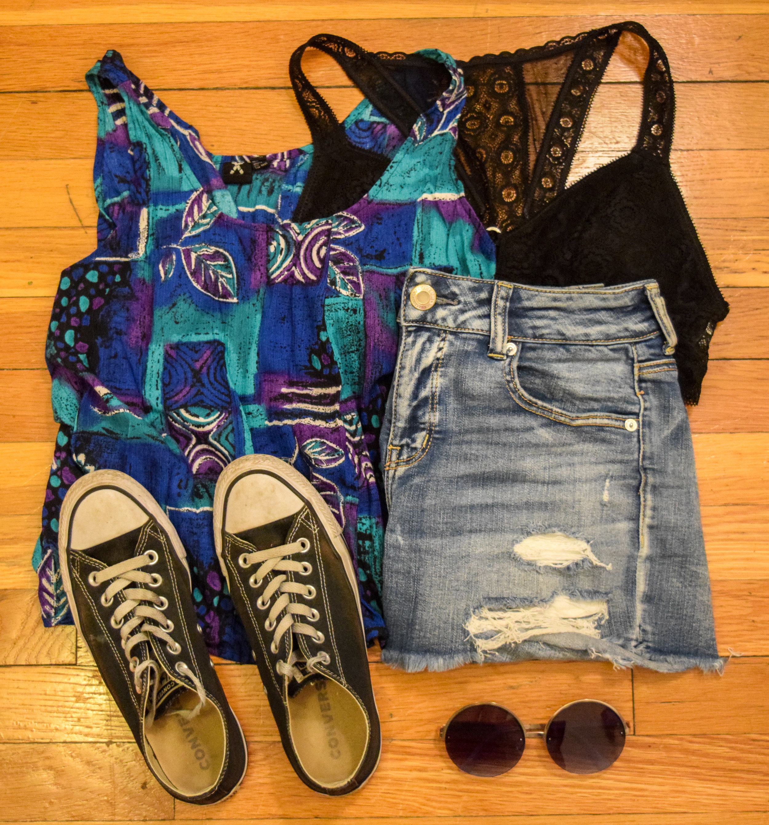top (from my cousin).  bralette .  shorts .  sneakers .  sunglasses .