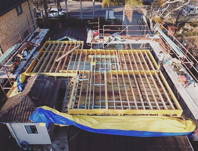 Awesome shot from above with our tarps ready to roll from the team at Your Style Designer Home Additions in Cromer, NSW.