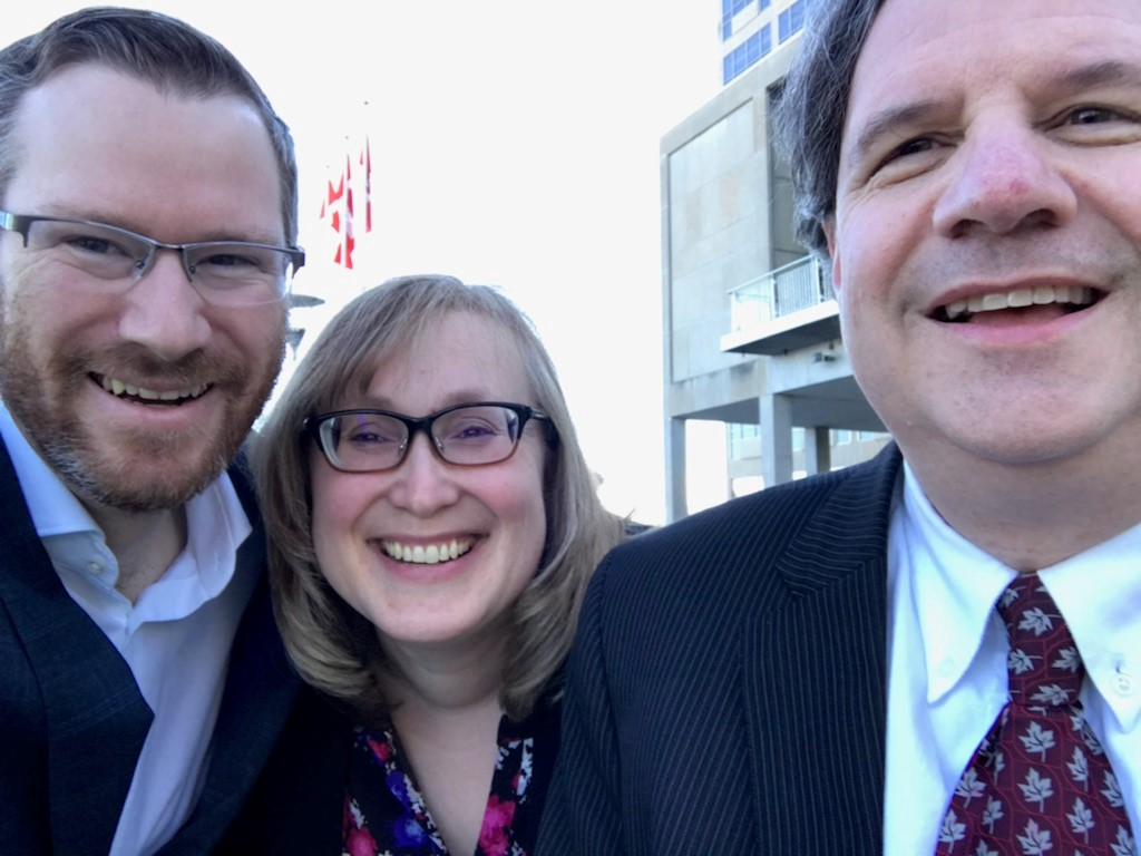 Joseph Devaney, Margaret Paproski and Hugh Neilson are getting ready to enter Budget Lock-up. Ready to roll!