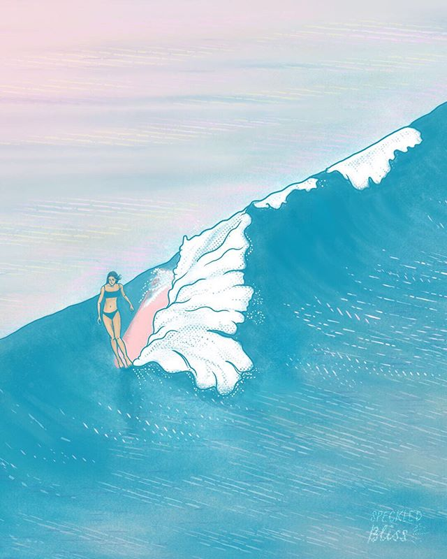 "Riding that wave of creativity til I wipe out! Then I'll paddle back out for some more. 🏄🏻‍♀️ . What form of creativity would you keep going even if you got wiped out? However you choose to express yourselves—be it drawing, writing, dancing, singing, cooking, photography, ceramics (the mediums are endless!), or even finding creative solutions at work and most importantly your life—let's ride that party wave of creativity together! And another wave after that. And another. 🌊 You get it! . Also, I'll be adding a phone wallpaper 📱 version of this illustration to my story soon, so feel free to grab a screenshot when it's available. If you miss it, no worries! I'll add it to my story highlights as well under the ""Freebies"" category. . ✨ Inspired by @adventures_ofjess's beautiful photography and @heydustinlee's philosophical musings."