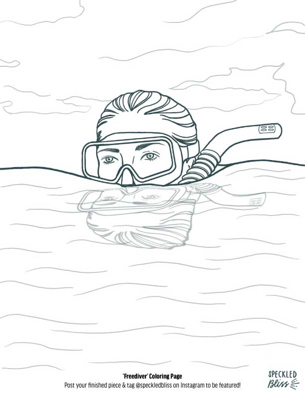 'Freediver' Coloring Page - Practice your coloring skills digitally on your tablet or in real life by printing this out.