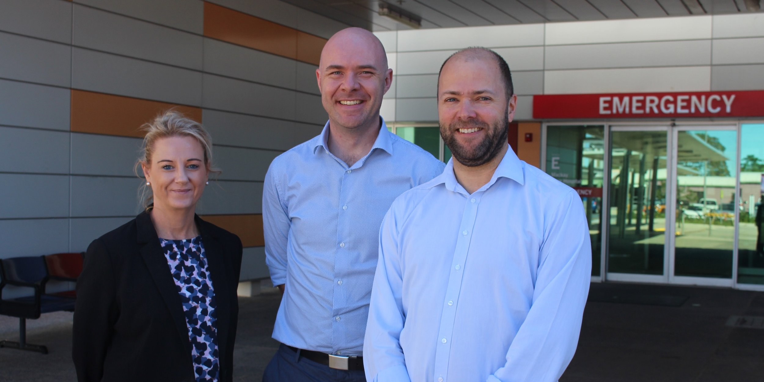 Mackay Base Hospital Director of Clinical Training Stephen Lambert (c) with Osler's Genelle Leo (r) and co-founder Todd Fraser
