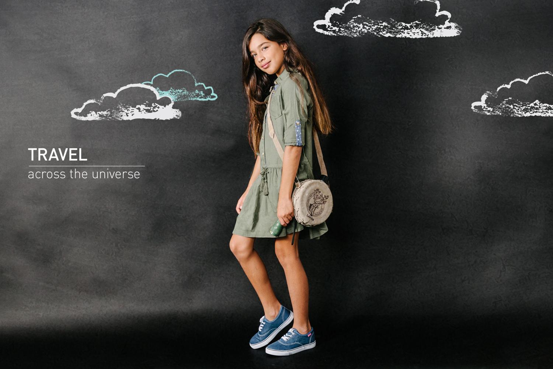 מיה בשמלת חאקי  אמריקן איגל קידס , נעלים: פפאיה (צילום: מרק סגל ל- imahotmag.com)