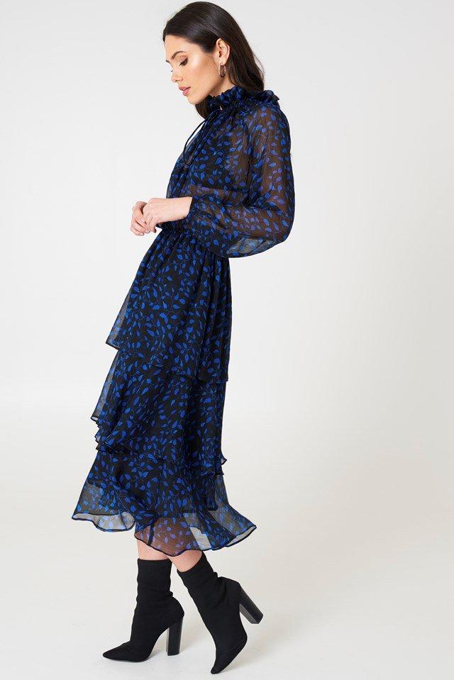 שמלת מידי וולאנים שקופה NA KD