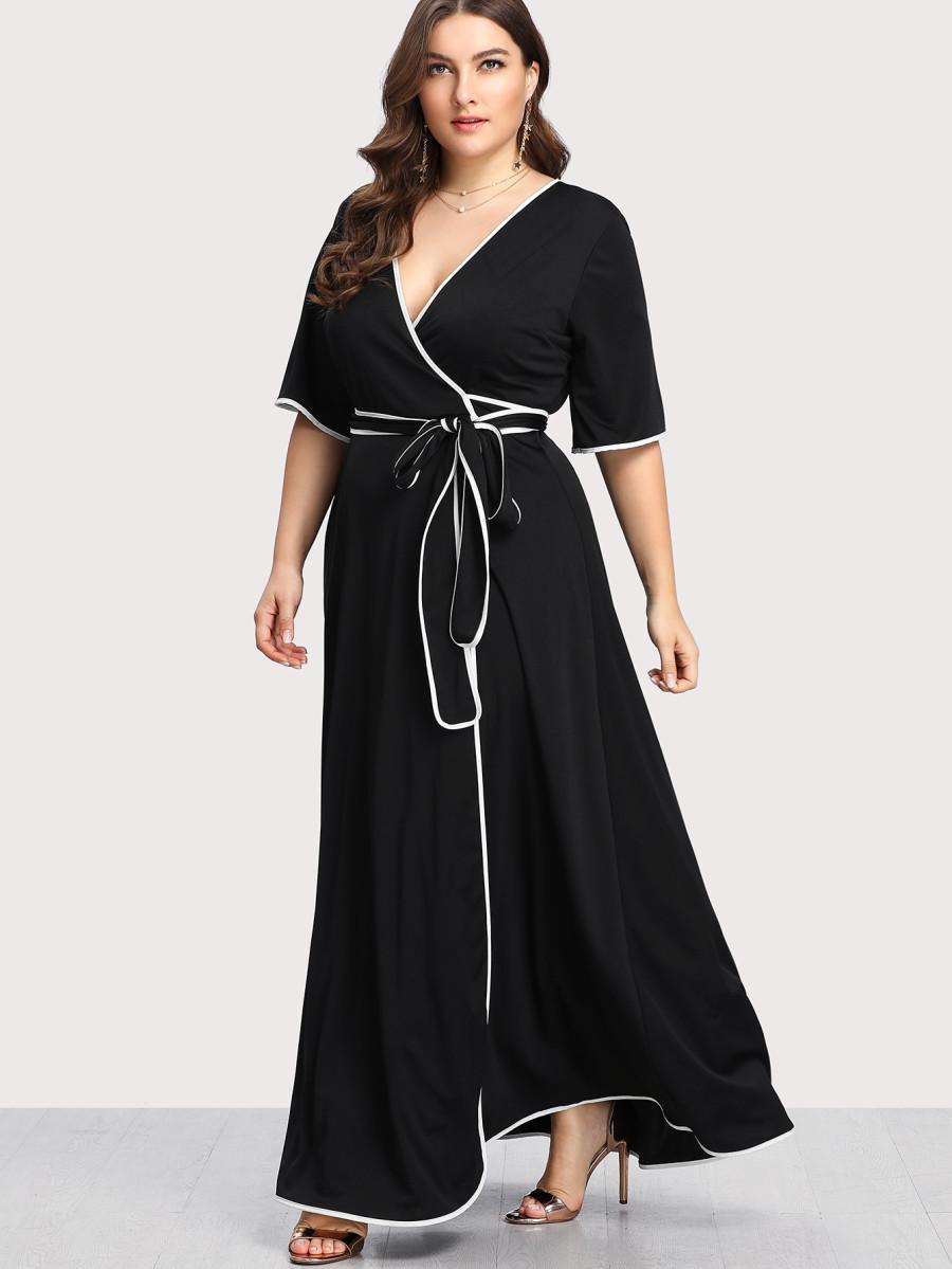"""""""מחלקות ״פלאס״ ייעודיות""""שמלת קימונו מתאימה למידות פלאס SHEIN"""