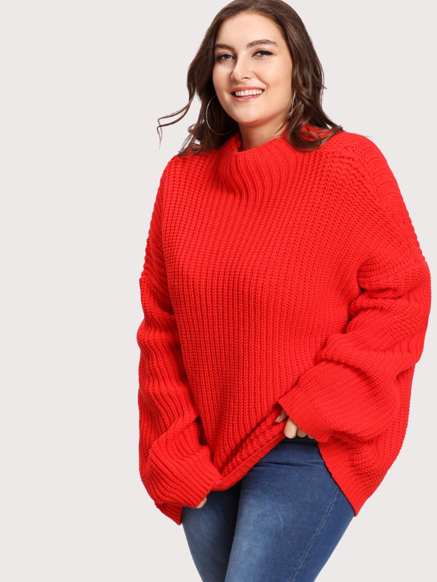 סוודר אוברסייז אדום SHEIN