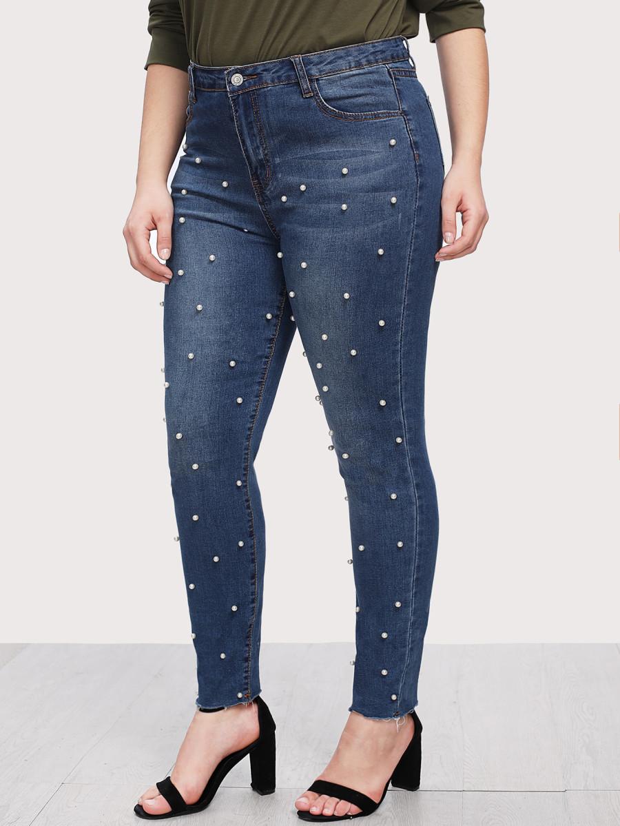ג׳ינס סקיני פנינים SHEIN