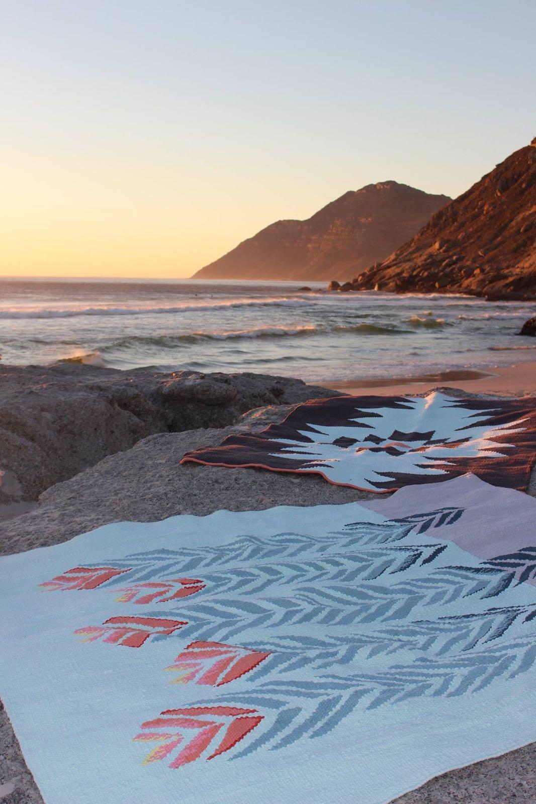 cotton rugs on noordhoek beach.JPG
