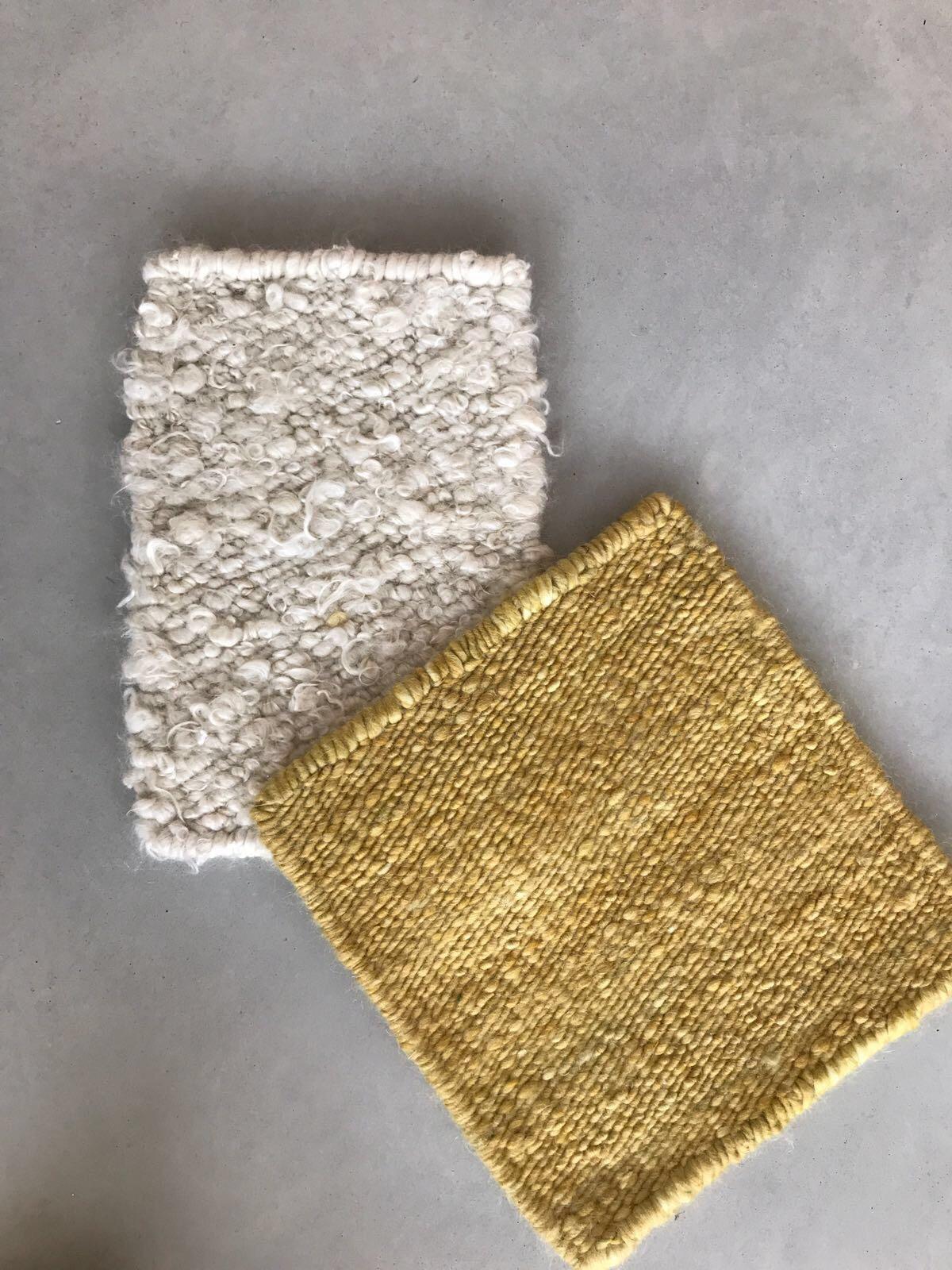 white curly mohair + gold flat weave mohair pad sampling.JPG