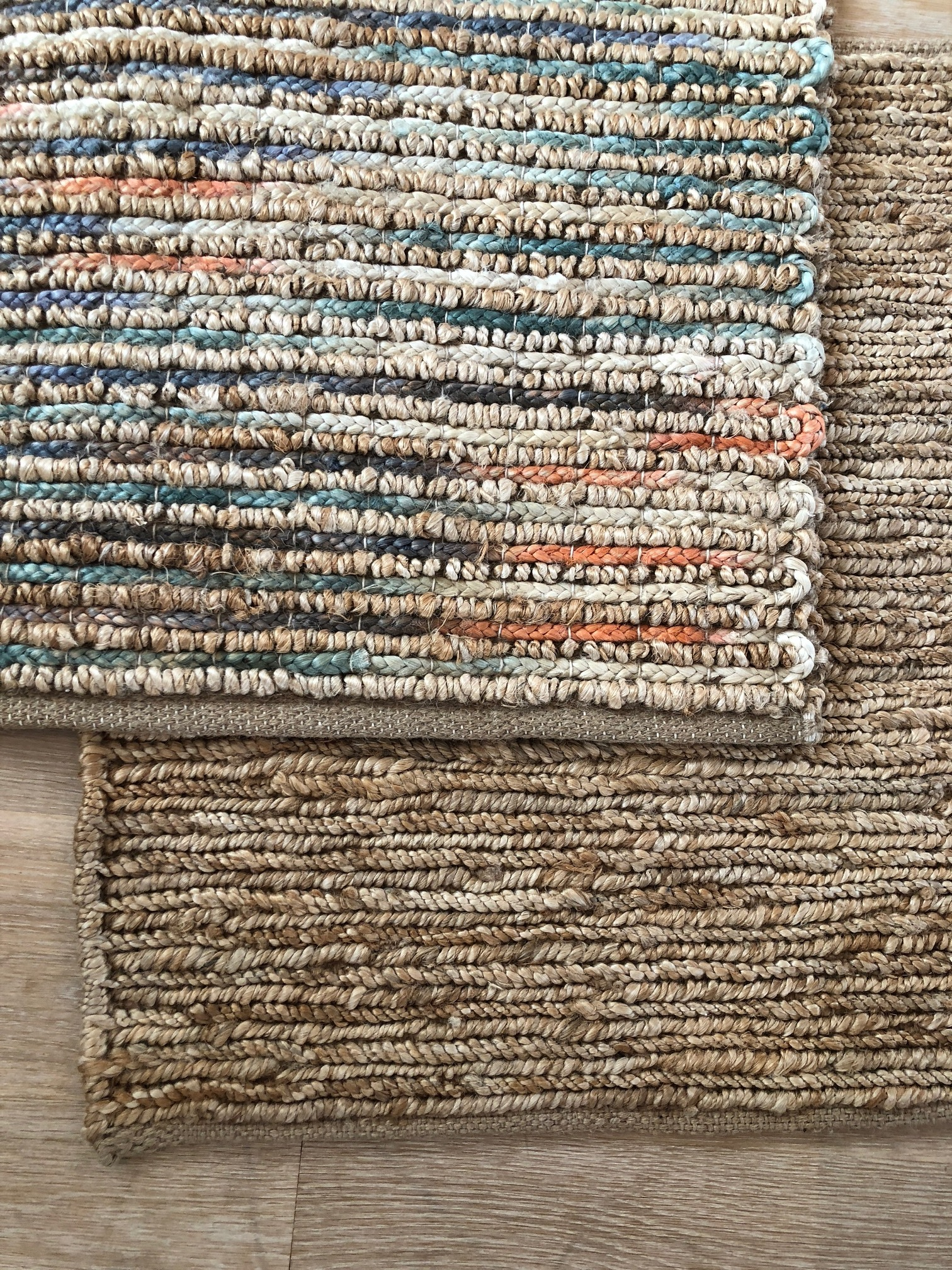 Jute flatweave - sunset and natural.JPG