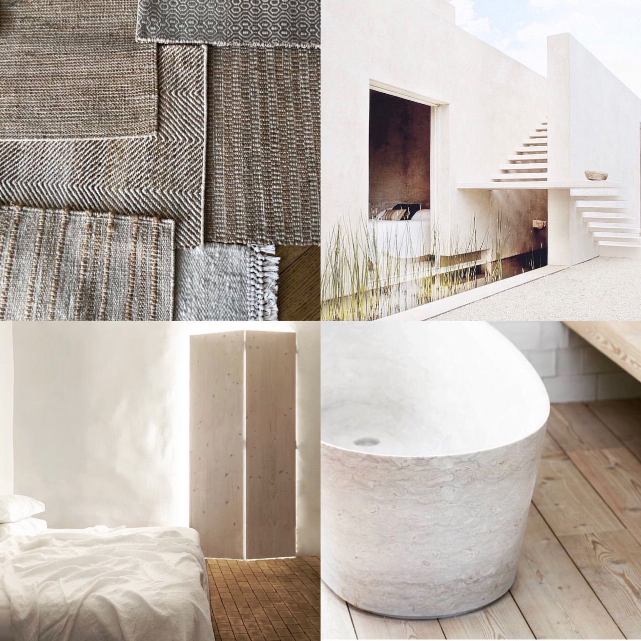 Mood board inspired by the use of light, soft colours and beautiful natural materials. Coral & Hive natural hemp, jute and karakul wool rugs. Casa Agave, Award winning design by Reyes Rios+Larrain Studio. Hotel Santa Clara 1728 by Aires Mateus. Casa no Tempo - Silent Living.