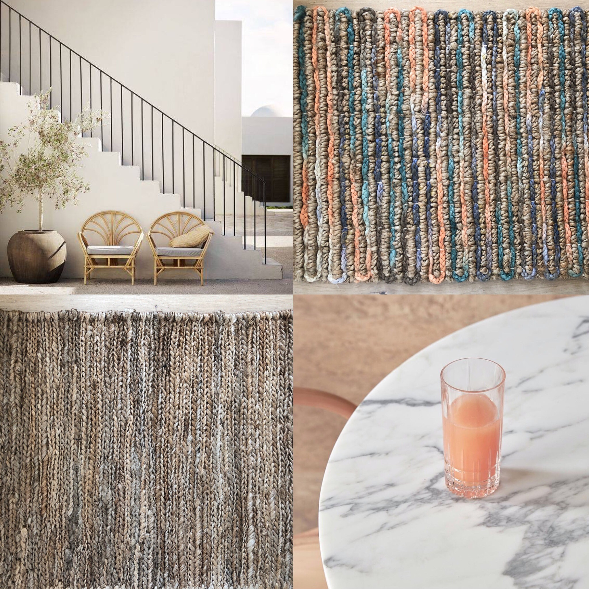 Summer moods with handwoven natural platted hemp choti rugs and sunset tones in our woven natural fibres - all rugs available to order in custom sizes. Image references are pinterest and The Calile Hotel.