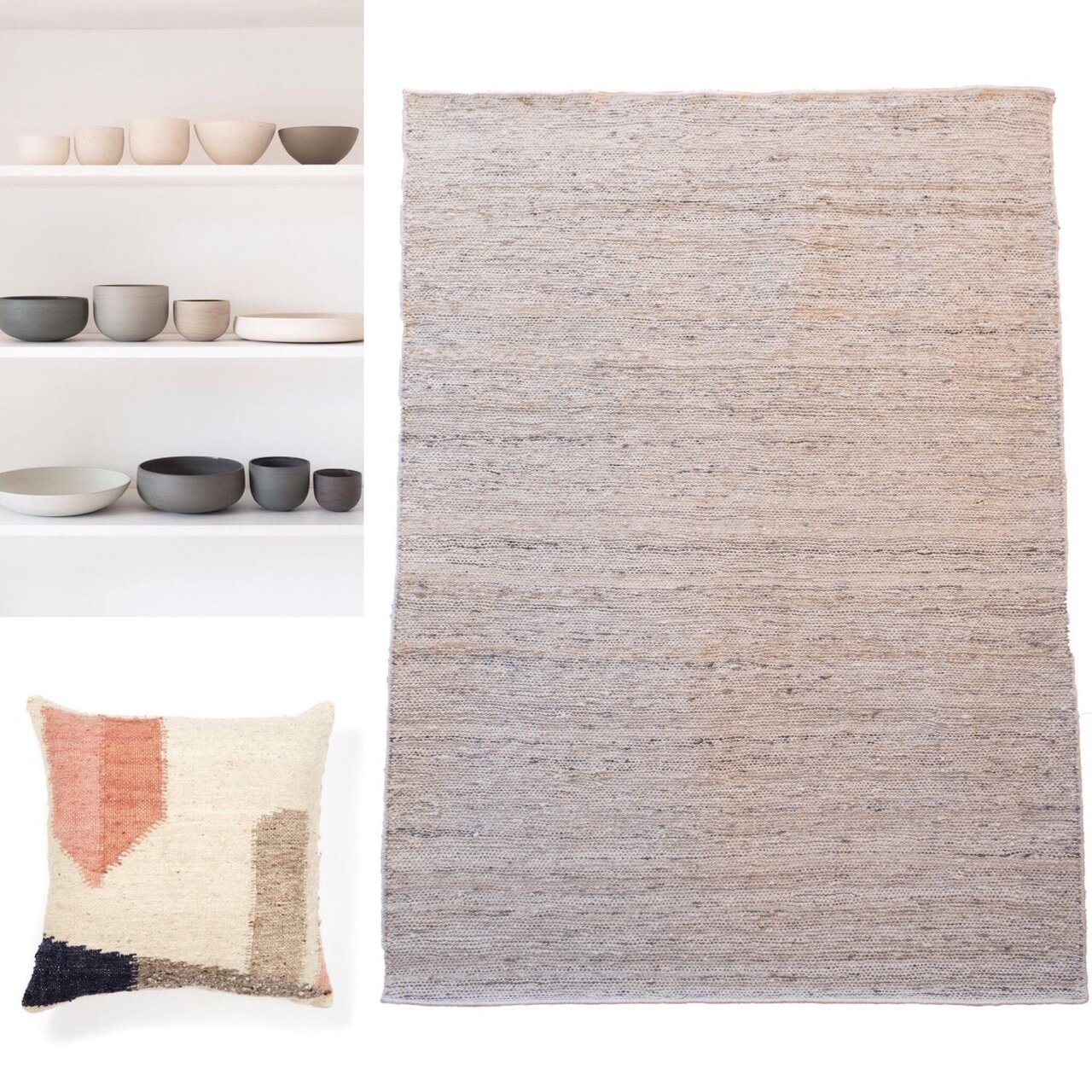 Earthy tones and textures bring harmony to your home, the perfect imperfections of hand-spinning and weaving, give character and authenticity. Ceramics and cushion are palette and design inspirations from our Pinterest boards. Rug is river weave karakul in white + silver, beautiful irregular natural colours running through.