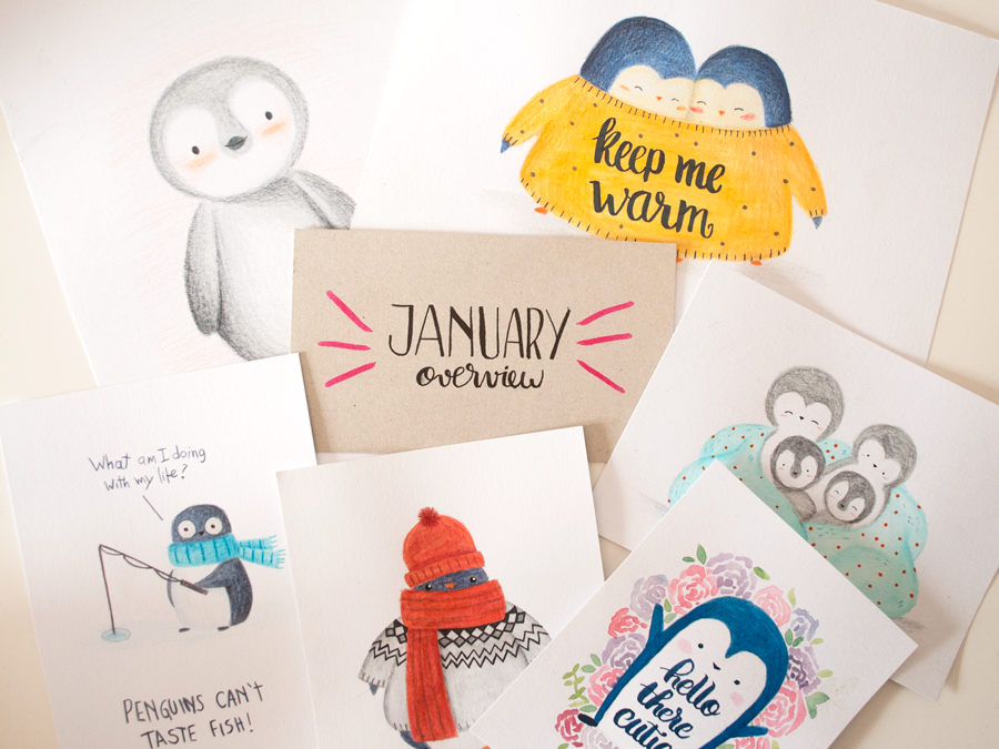 january penguin illustration