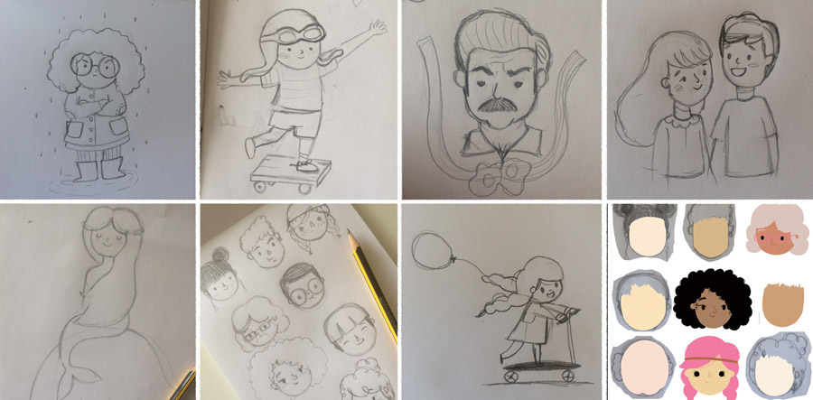 sneak peek into the process of creating the illustrations