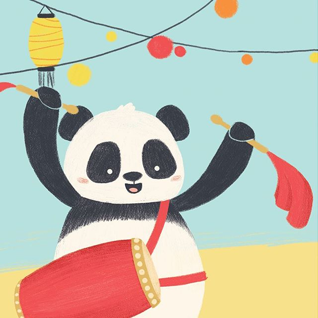 Here's another panda ready to party! How's your Monday? #illustration #drawing #characterdesign #childrensbooks #childrensbooksillustration #kidlitart #illustrationartists