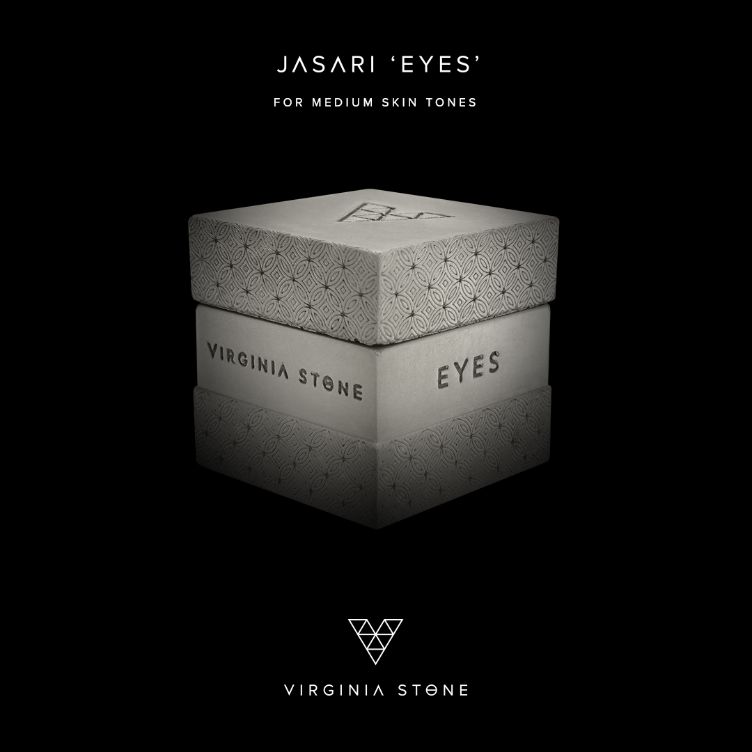 The gorgeous and luxe packaging of Virginia Stone's Jasari Eyes. Image Source: Virginia Stone