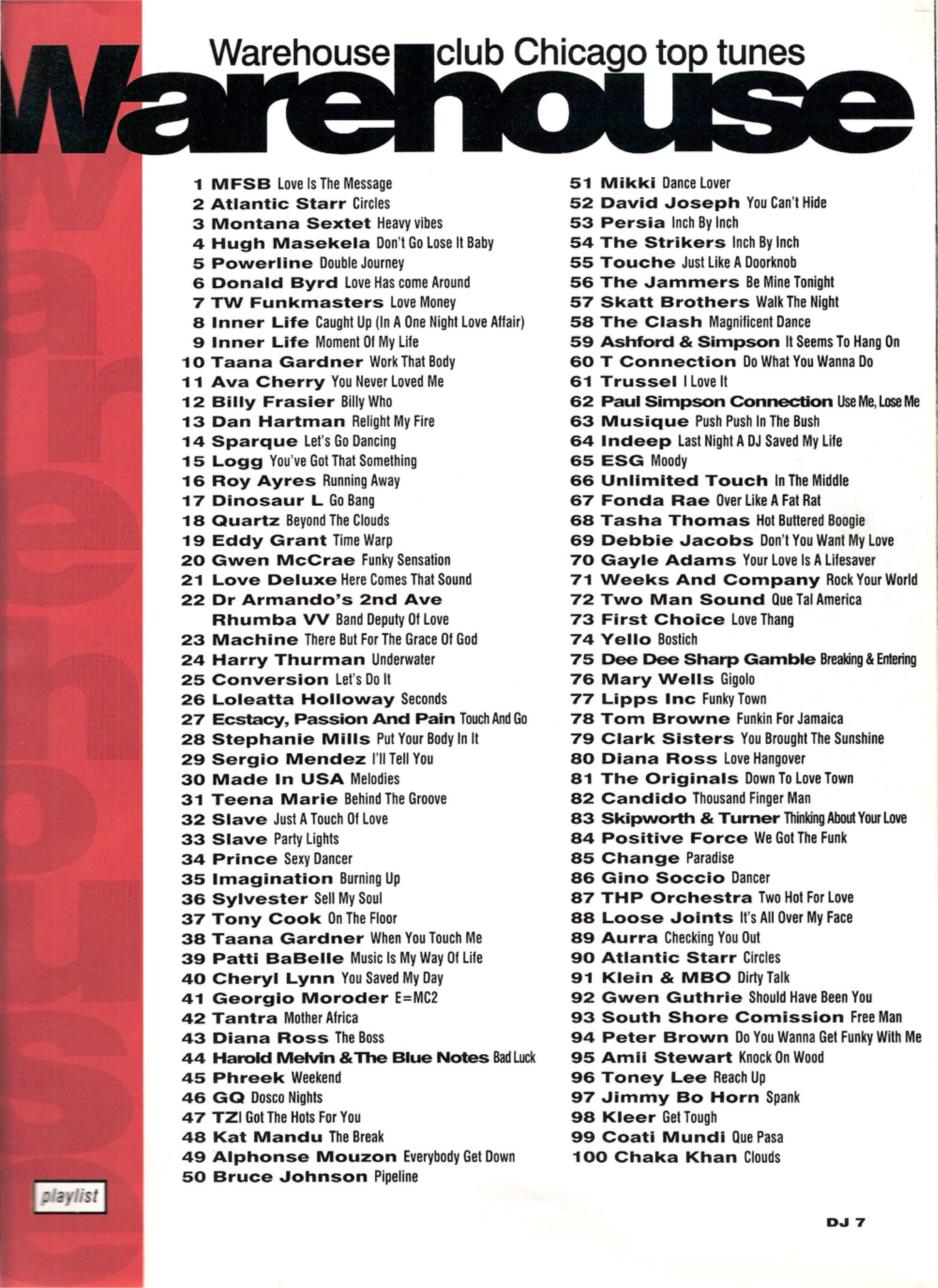 The Warehouse top 100 tunes from DJ Mag April 1993.