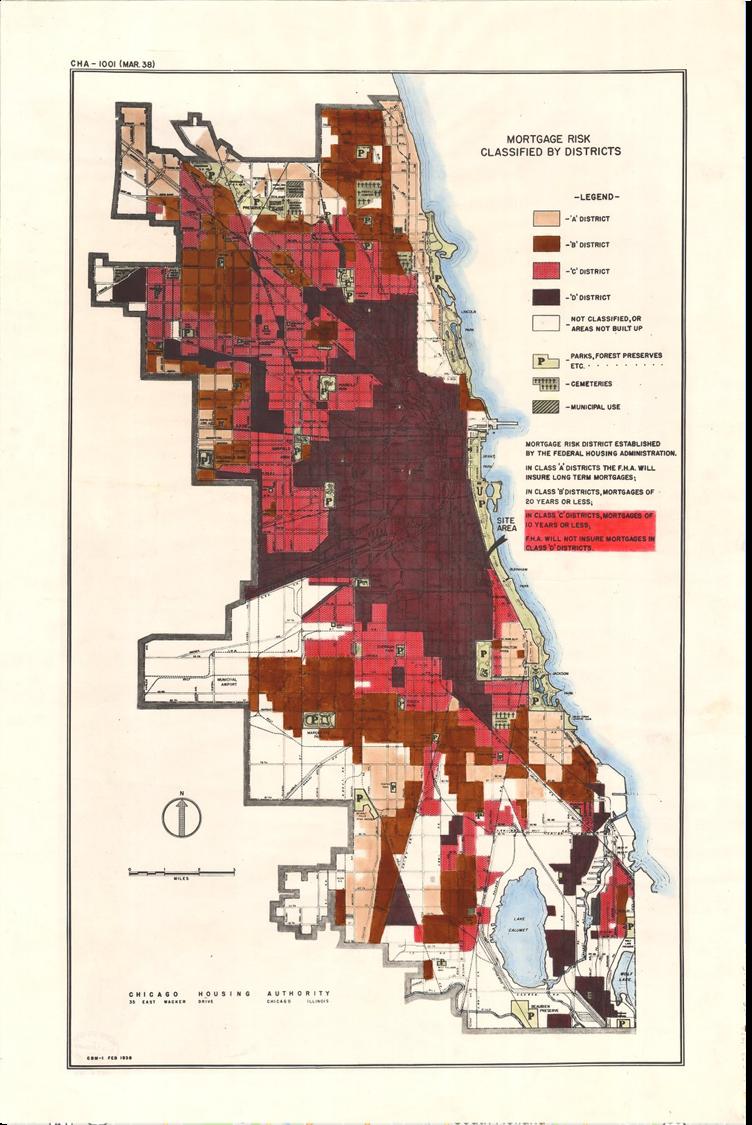 Redlining map of Chicago circa March 1938