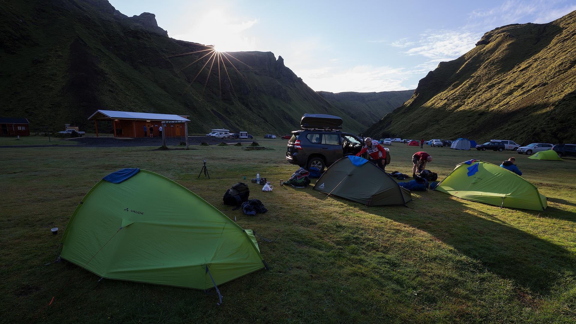 'S morgens op de camping