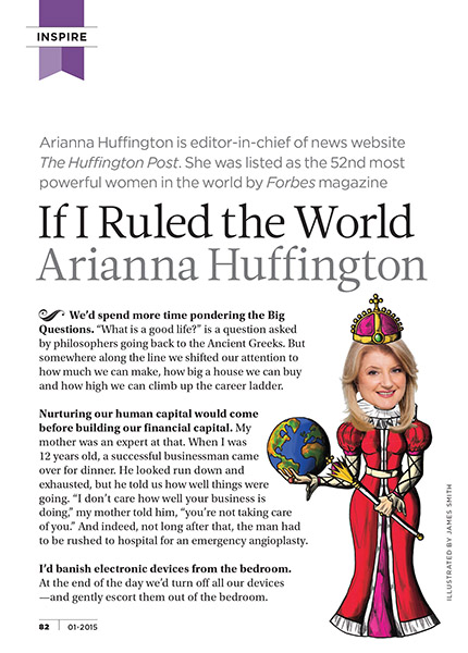Arianna Huffington Article - Digital pixel art & photo for Reader's Digest UK