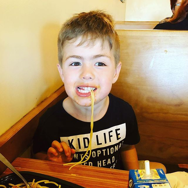 His shirt says it all! #kidlife #noodlesandcompany #sphagetti #corneliustribe #Brady #thisis4
