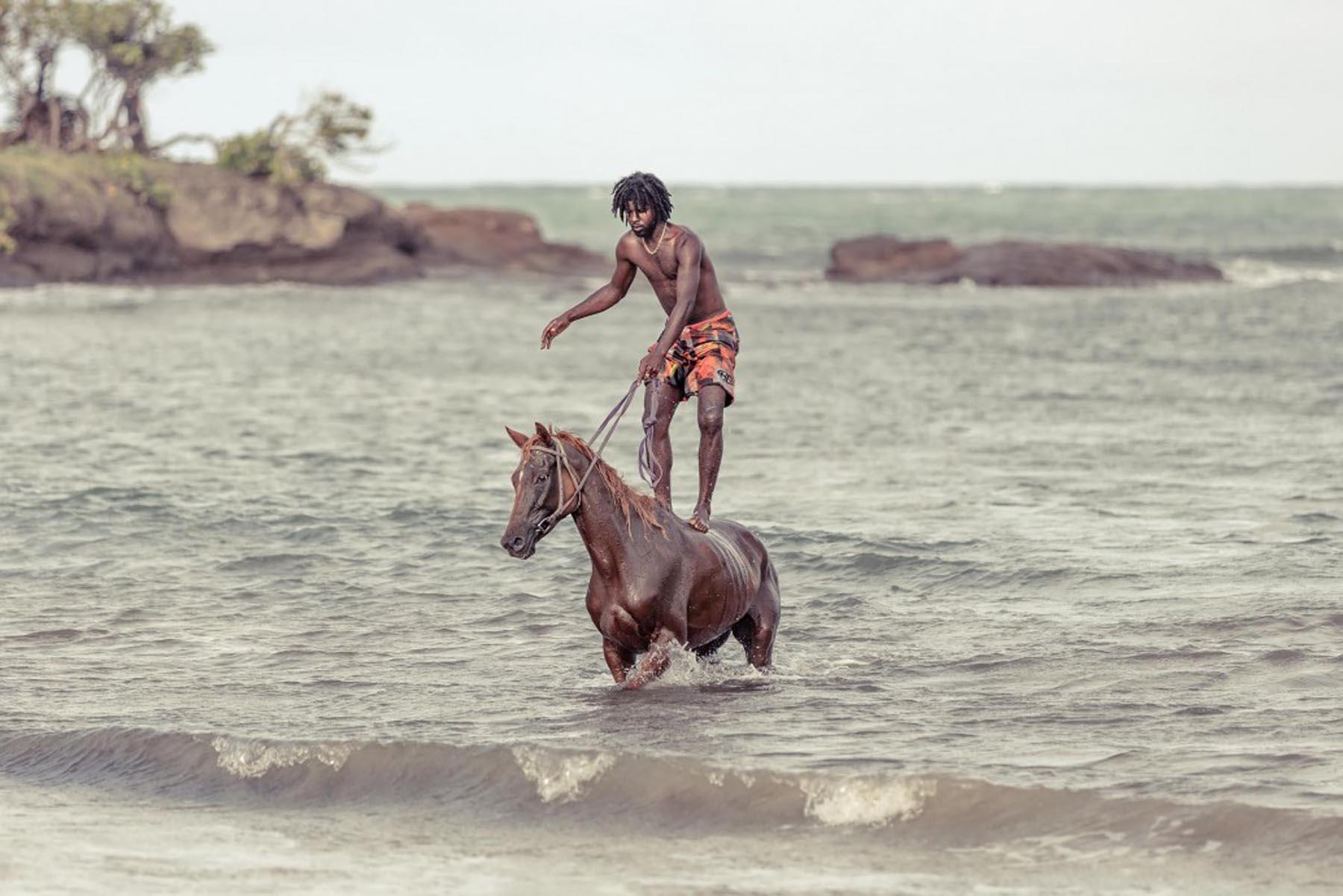 Richard Wadey Man in Sea with Horse