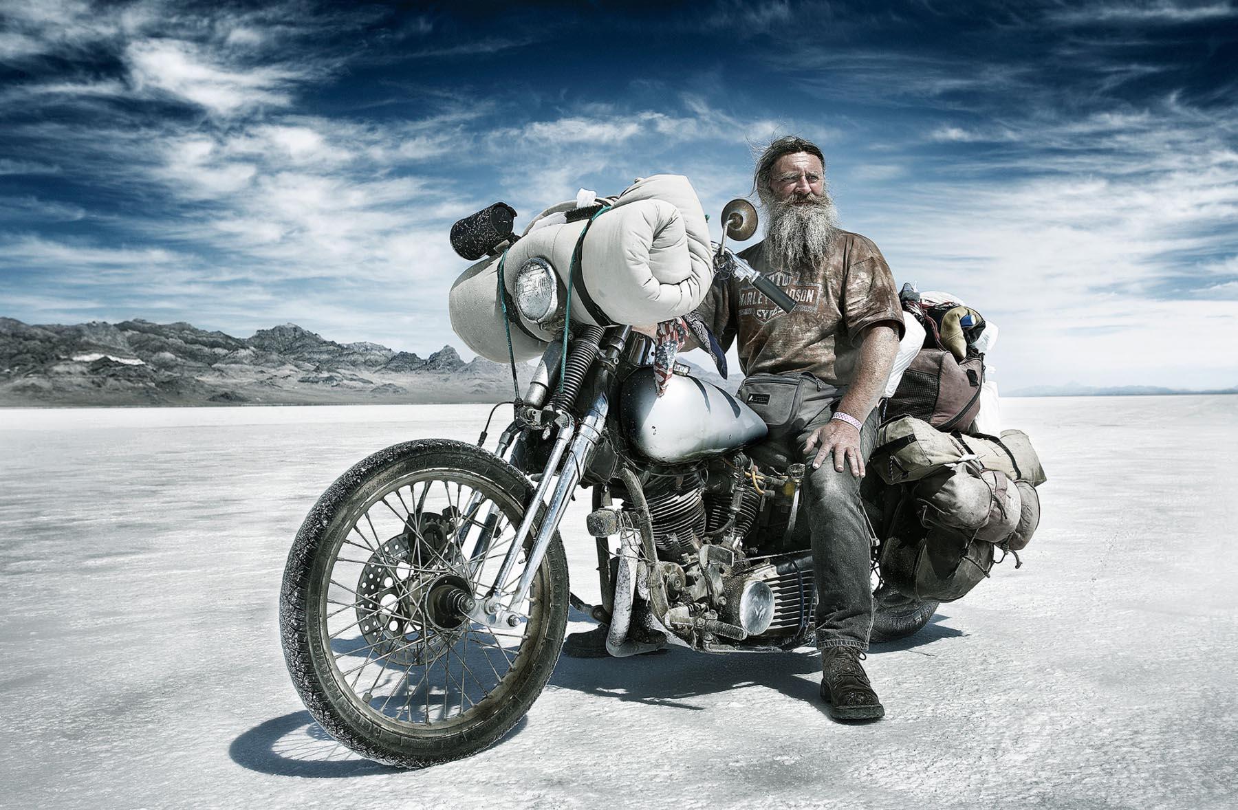 Nigel Harniman Bearded Man on Motorbike