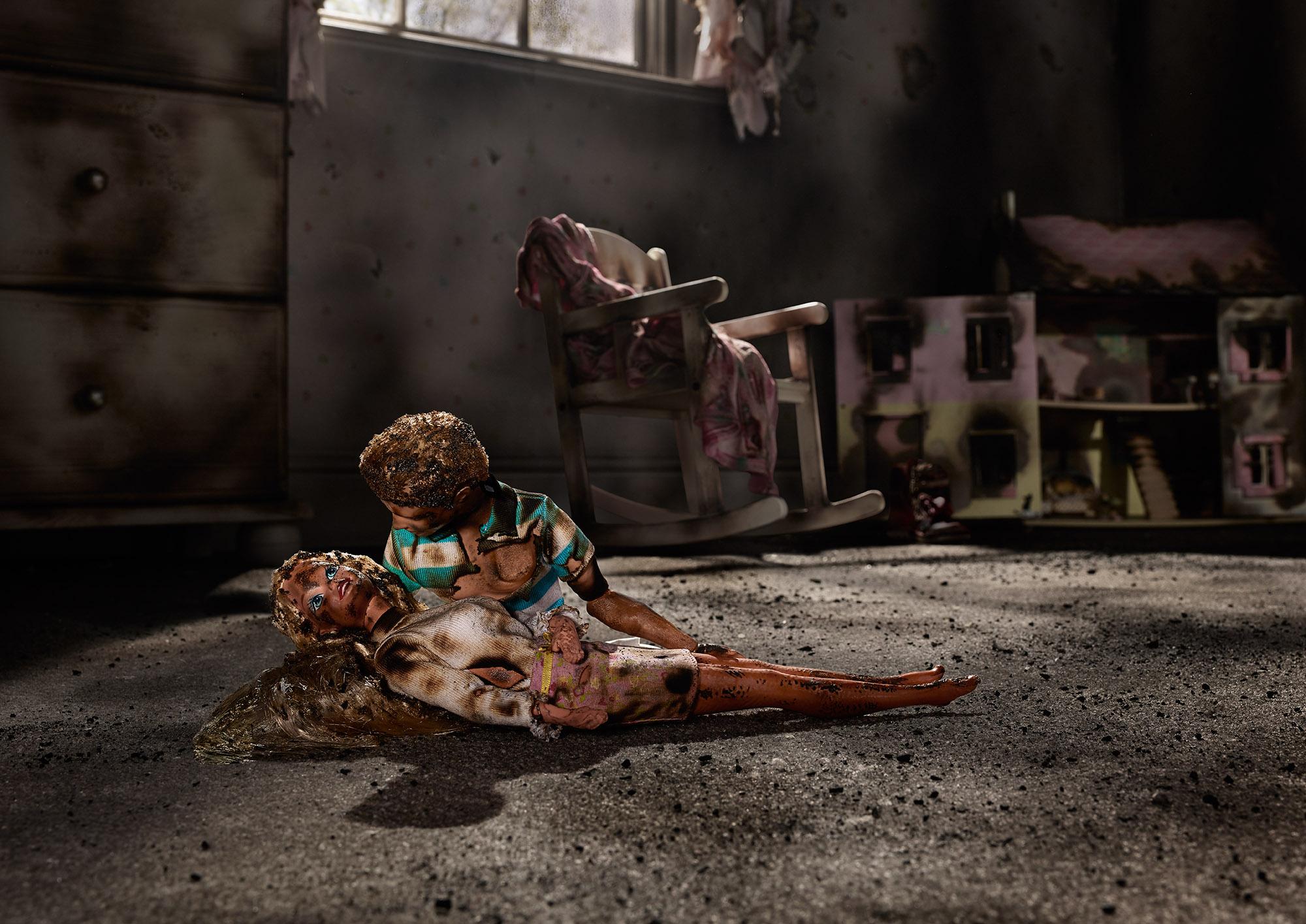Tal Silverman Fire Damage Ken & Barbie Dolls
