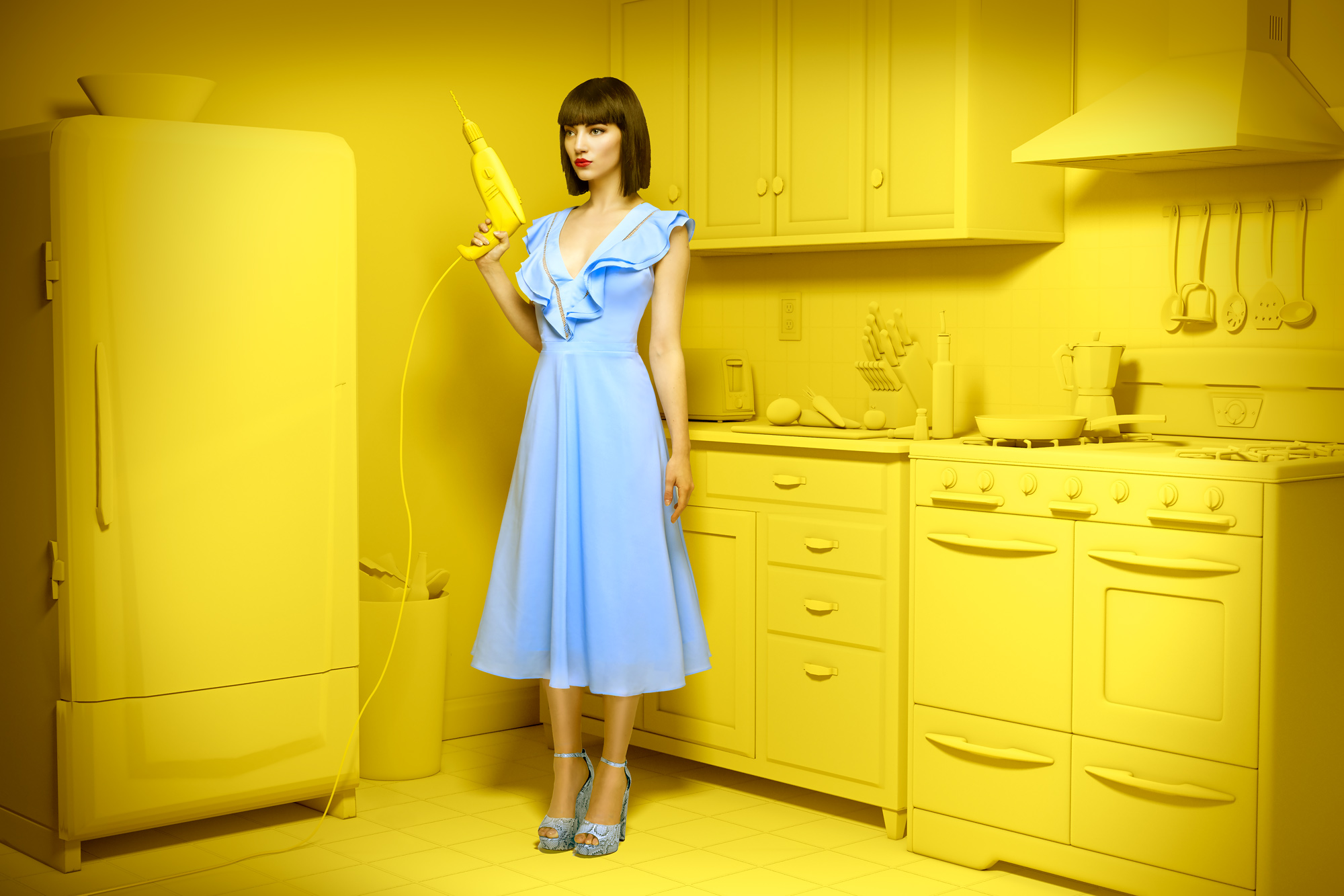 Chris Clor woman in Yellow Kitchen