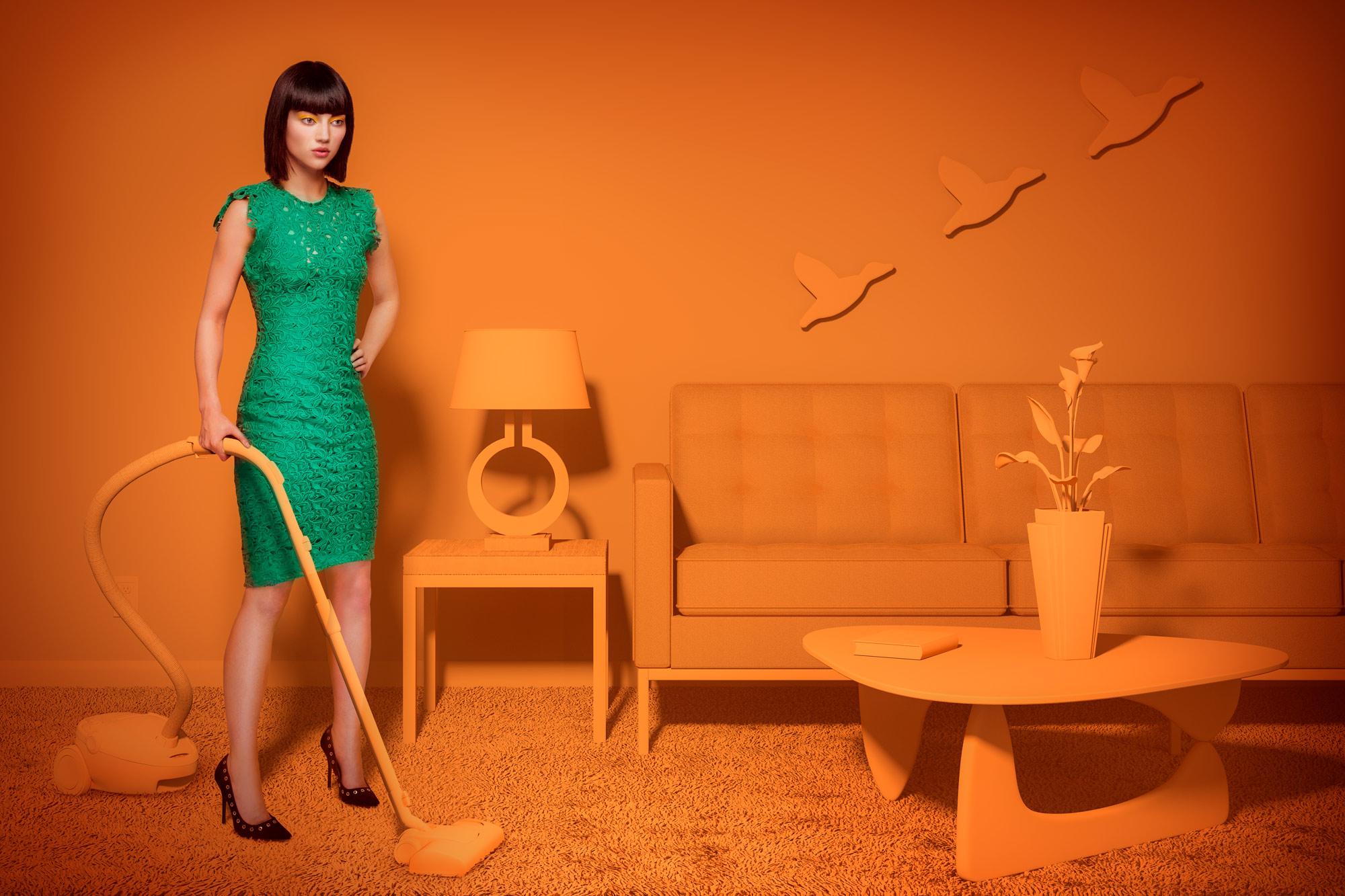 Chris Clor woman in orange kitchen