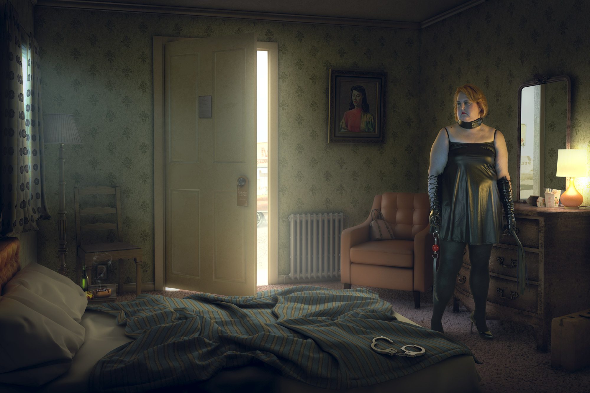 Chris Clor woman in bedroom with whip