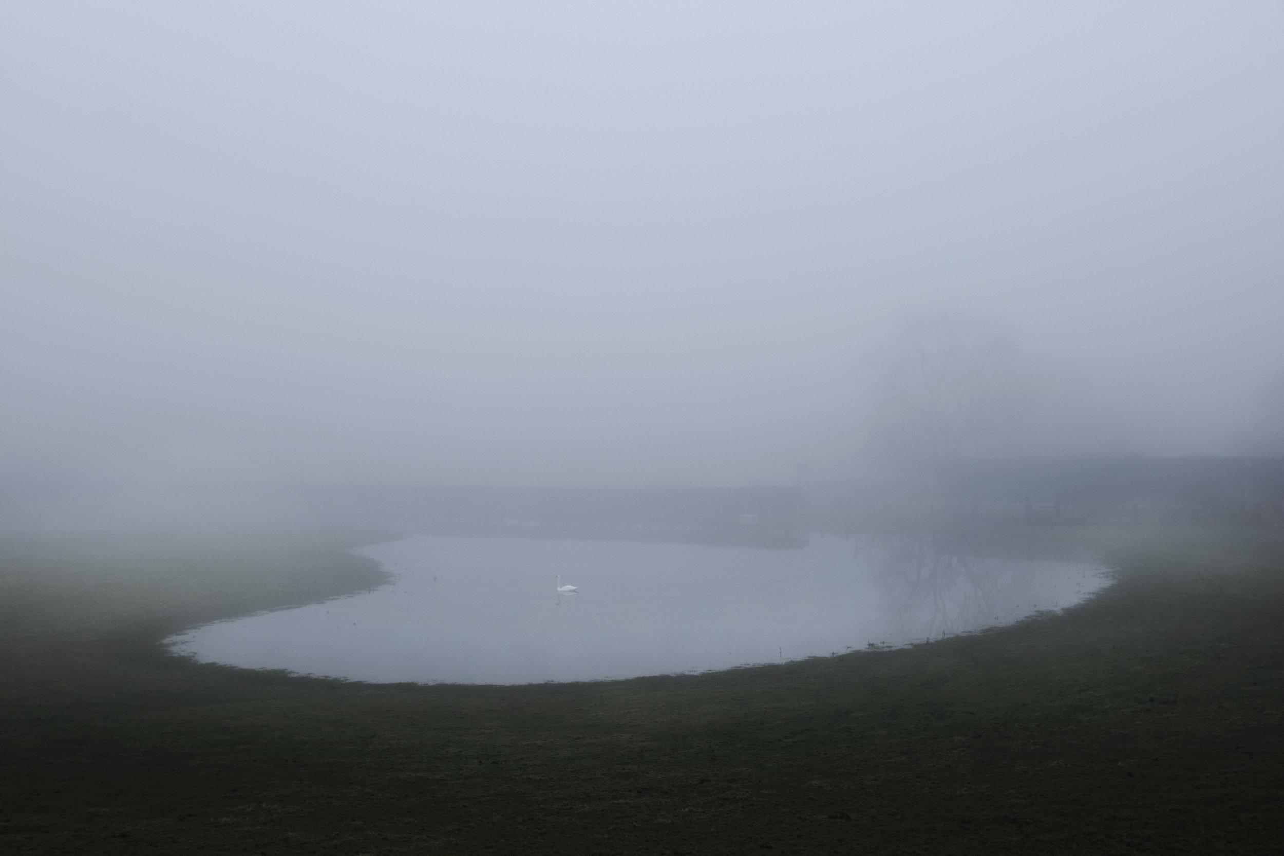 Dan Prince lake in misty landscape