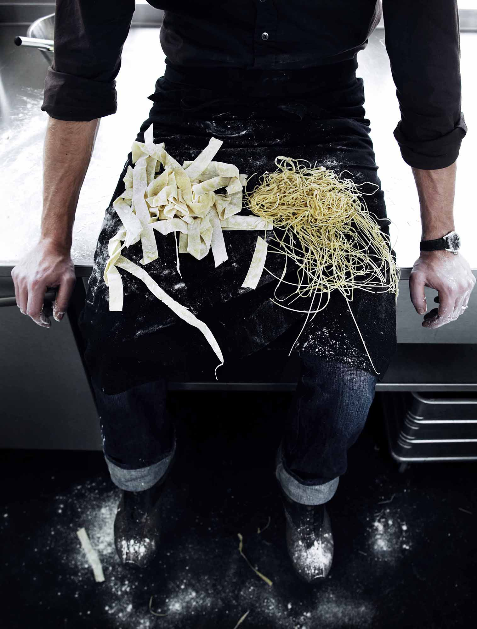 Lars Ranek - chef with pasta