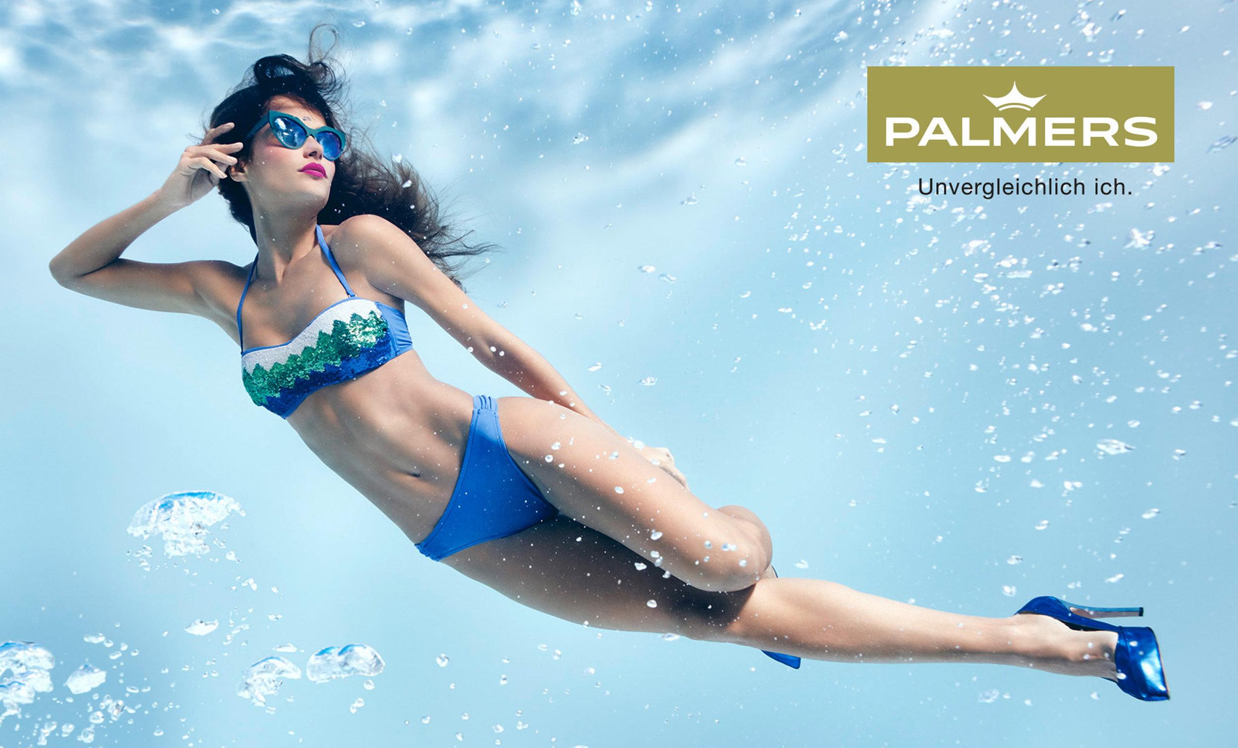 Susanne Stemmer girl underwater in bikini and blue shoes