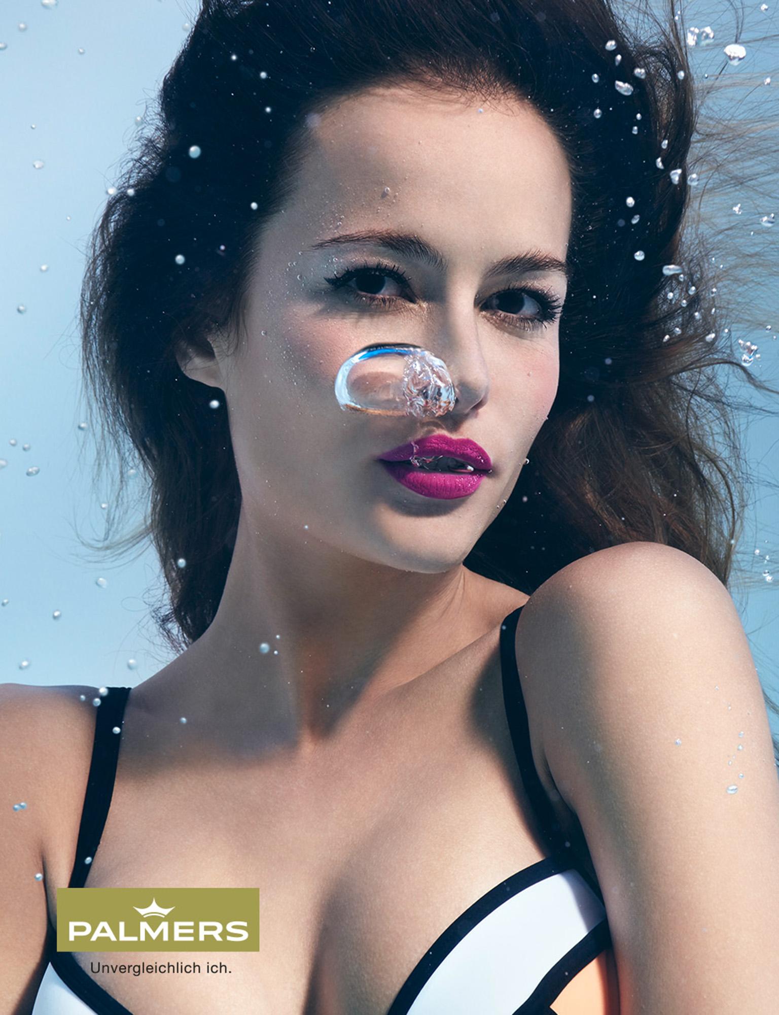 Susanne Stemmer portrait of girl underwater in black and white bikini