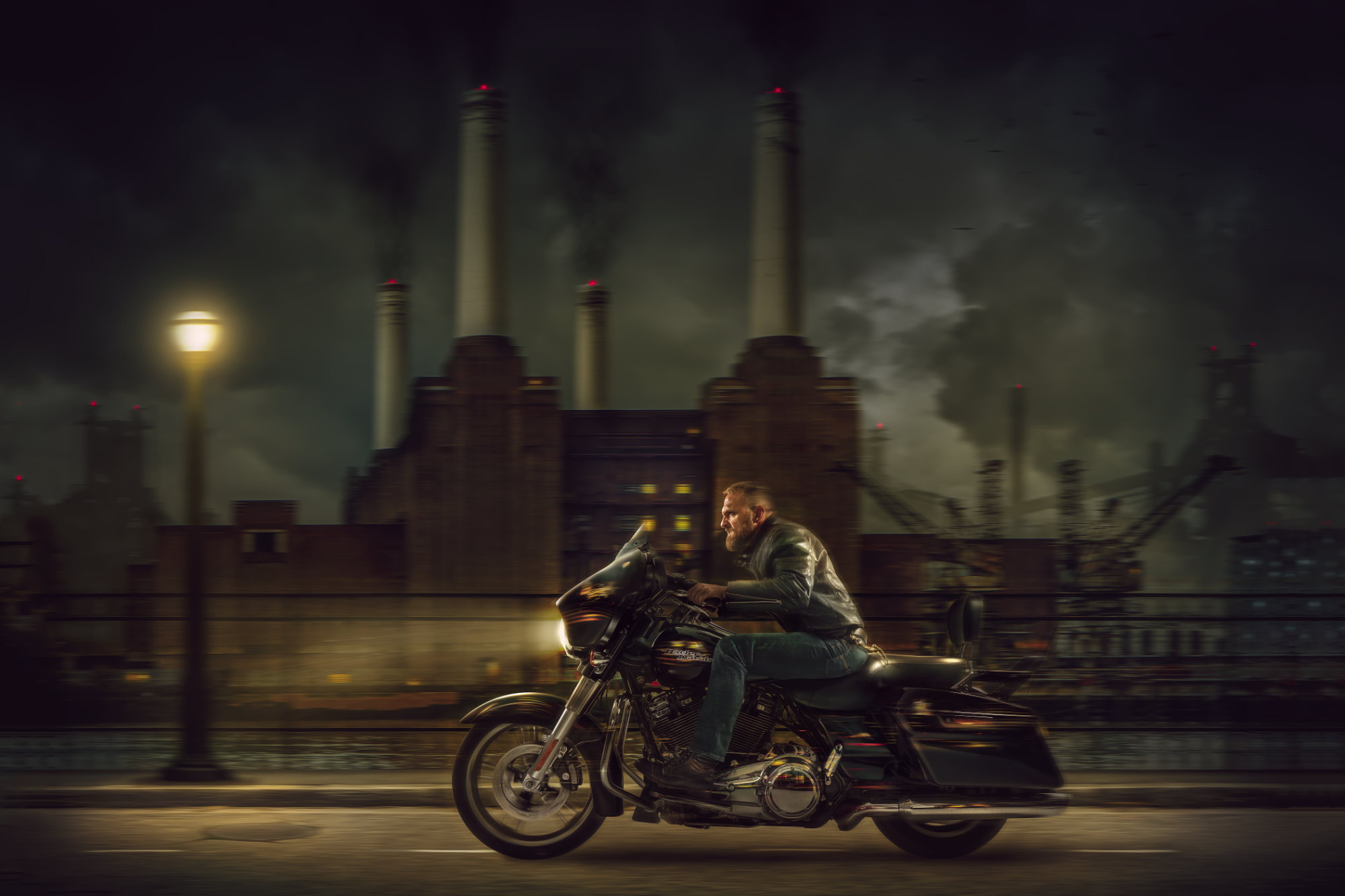 Chris Clor - guy riding harley davidson by Battersea Power Station