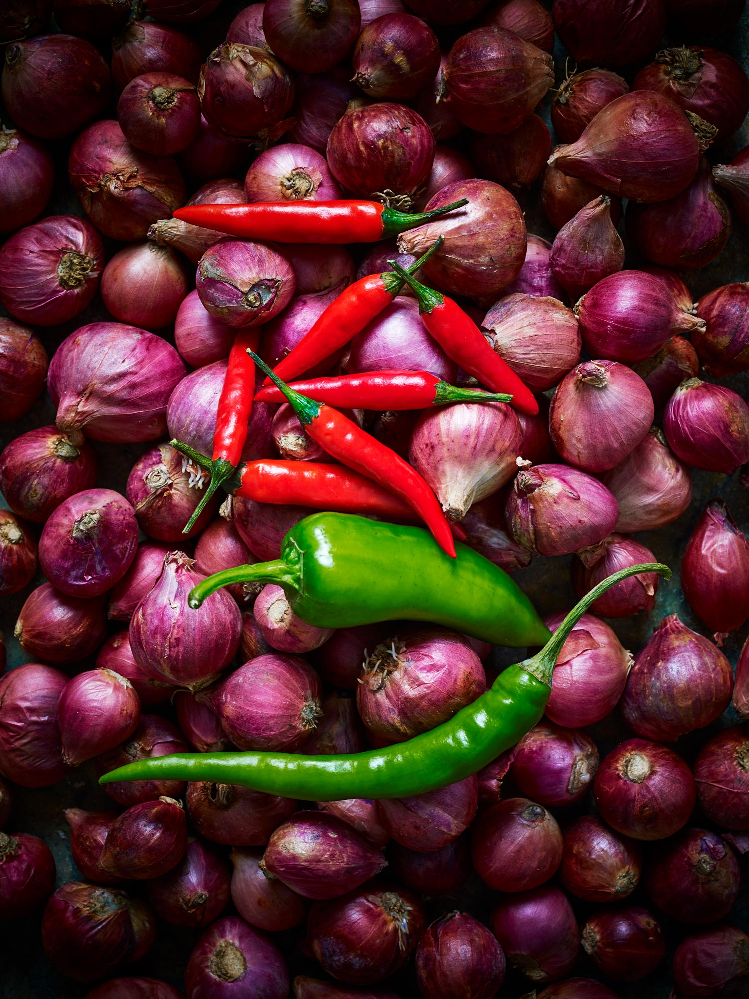 Stuart West - onions and chilli peppers