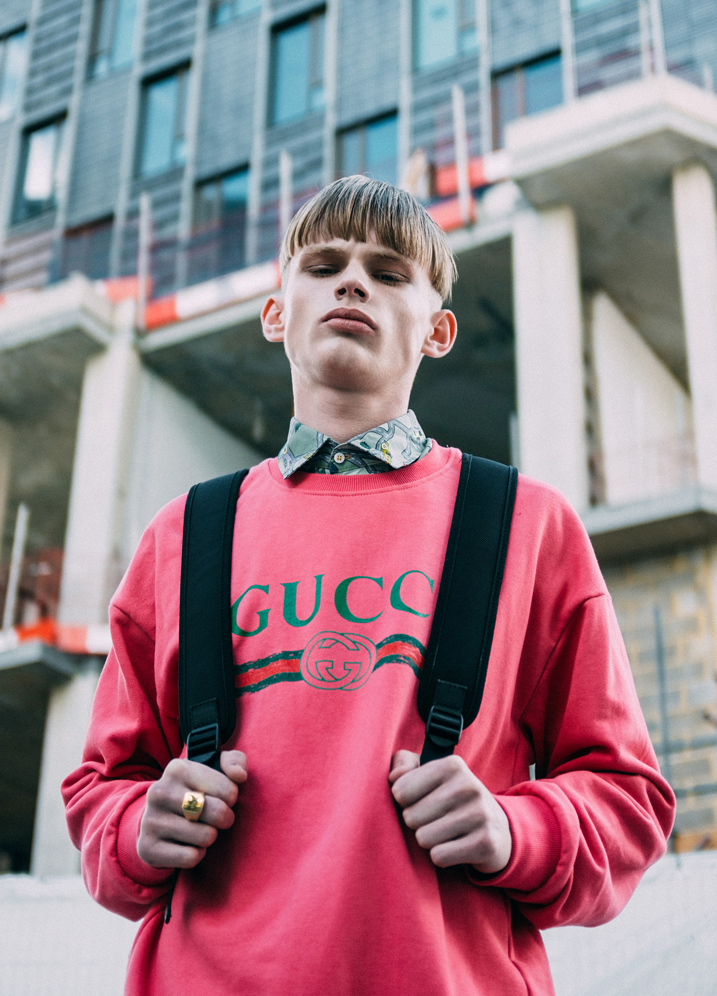 Ira Giorgetti - guy with pink gucci sweatshirt