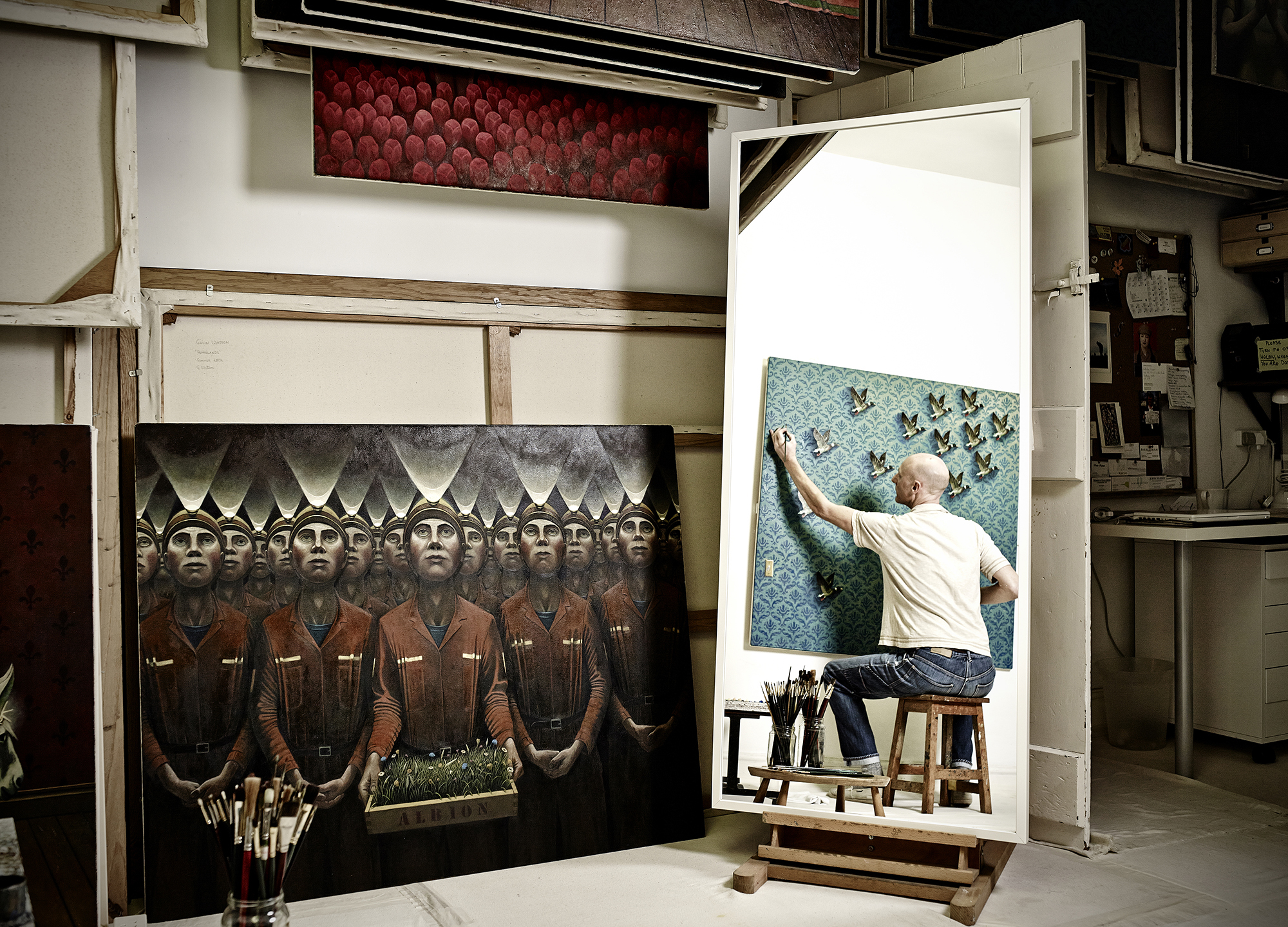 john Donoghue - artist working in studio