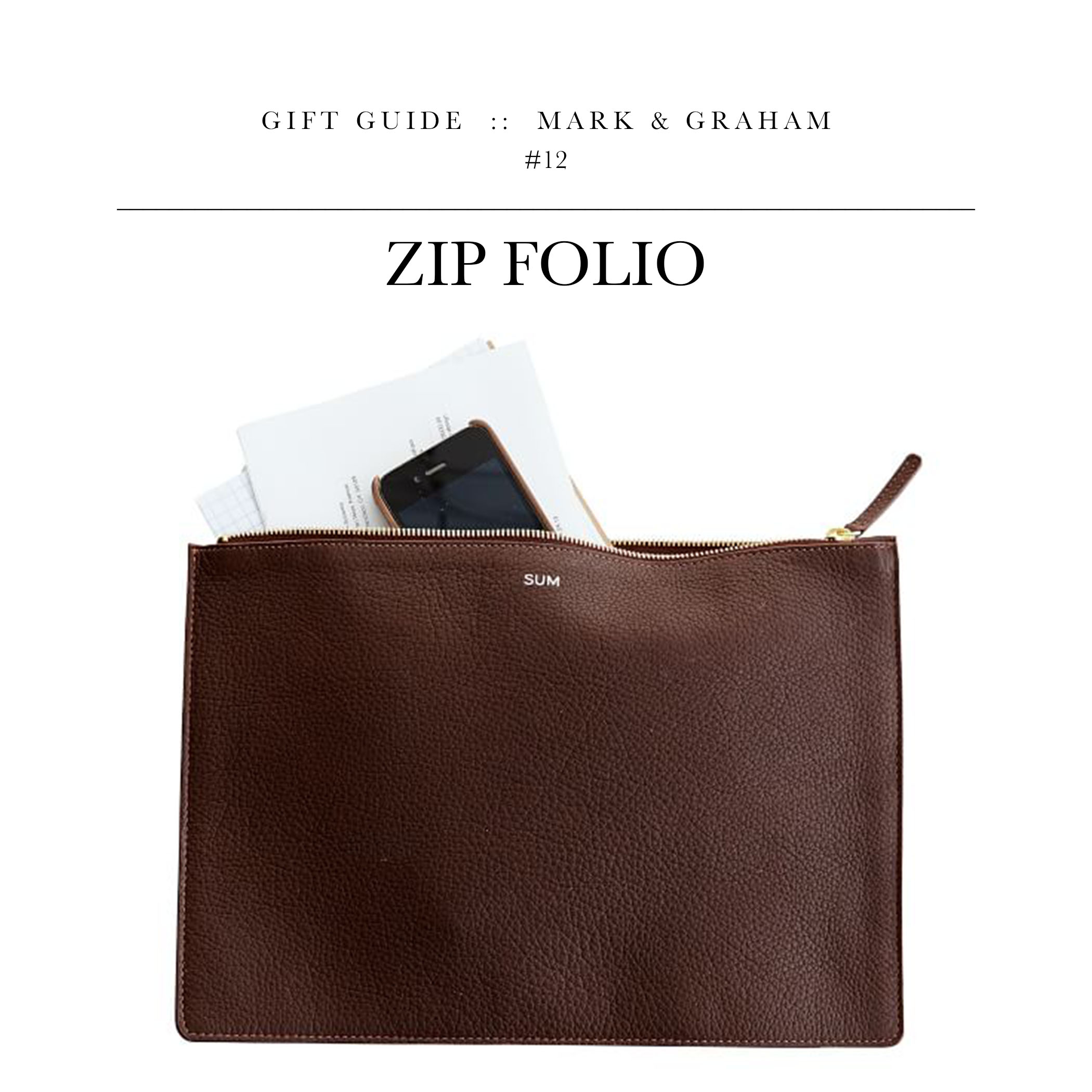 """Zip Folio via Mark & Graham // Another practical gift for the guy who has many """"things."""" I use one of these when I travel to keep my headphones, charger, notebook, calendar, and other random junk I probably will never need."""