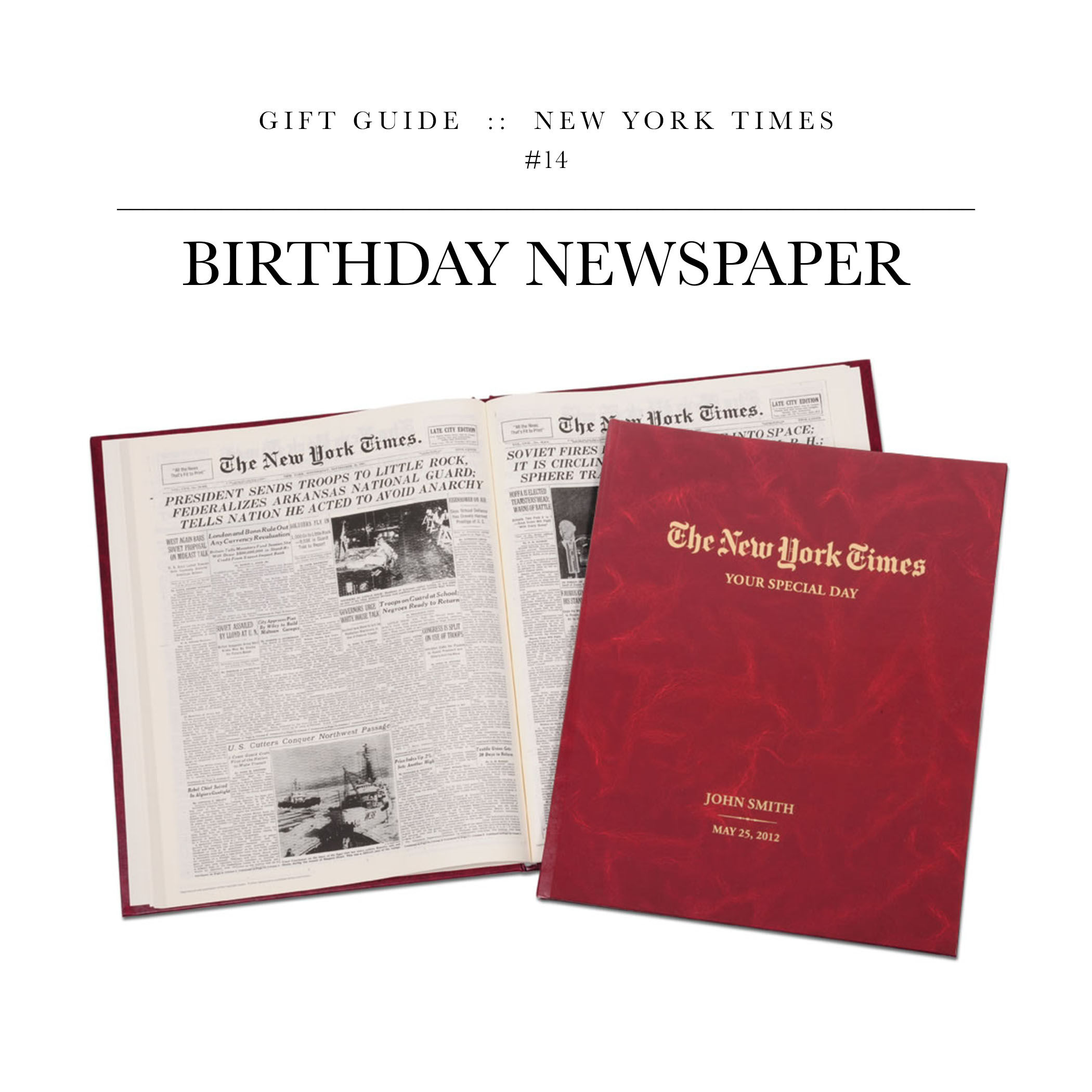 Birthday Newspaper via The New York Times // This is actually a pretty cool gift. It's the complete New York Times on the day of the recipient's birth.