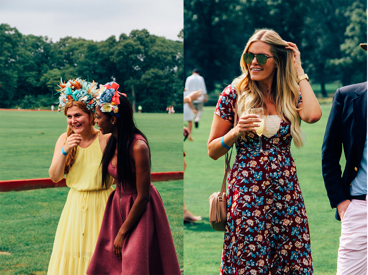 (Left): My personal pics for best fascinators - I mean how cool, right?  (Right): A lovely lady with champagne in hand while stomping divots at half time.