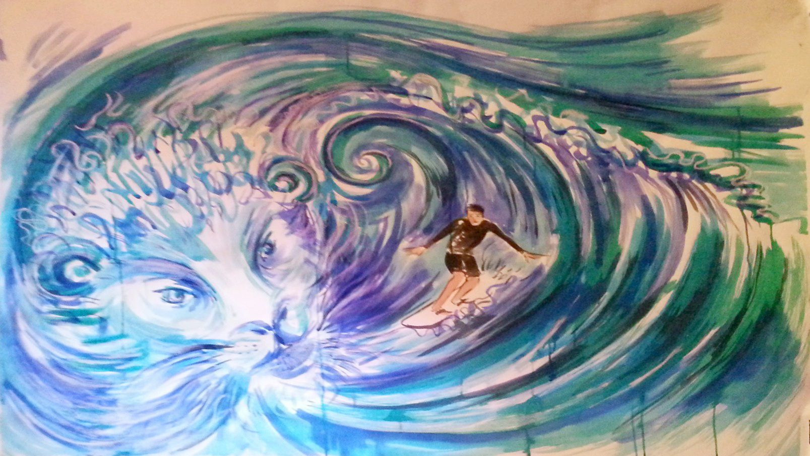 Riding the wave | Painted live at Transform by Bev Jones, used with permission